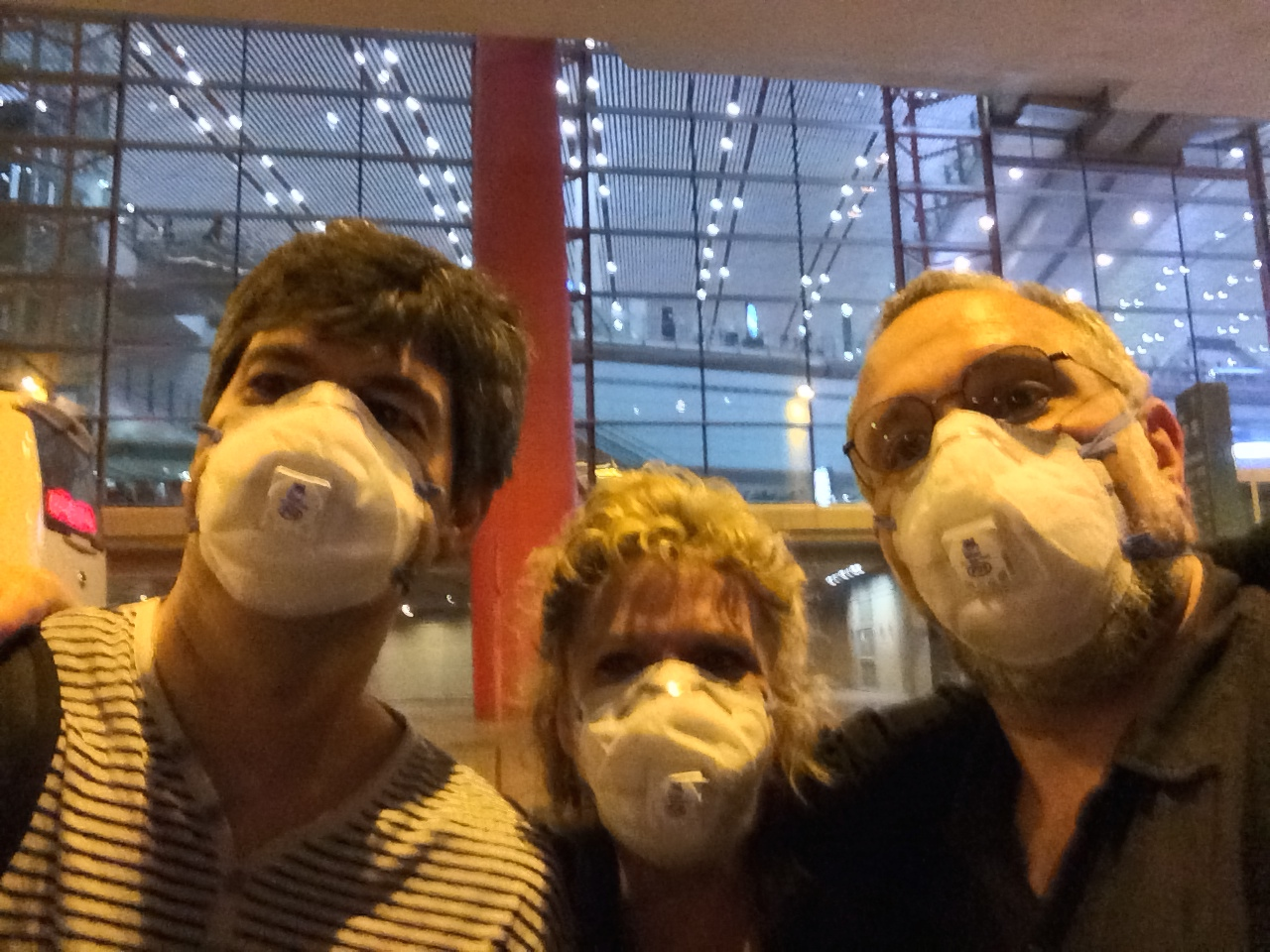 Left to right: Chris Rosser, Rhonda Larson and Eliot.  I wish this was a just for fun picture. Unfortunately this is the reality in Beijing most days. I am saddened to say this is the reality of the majority of China now.