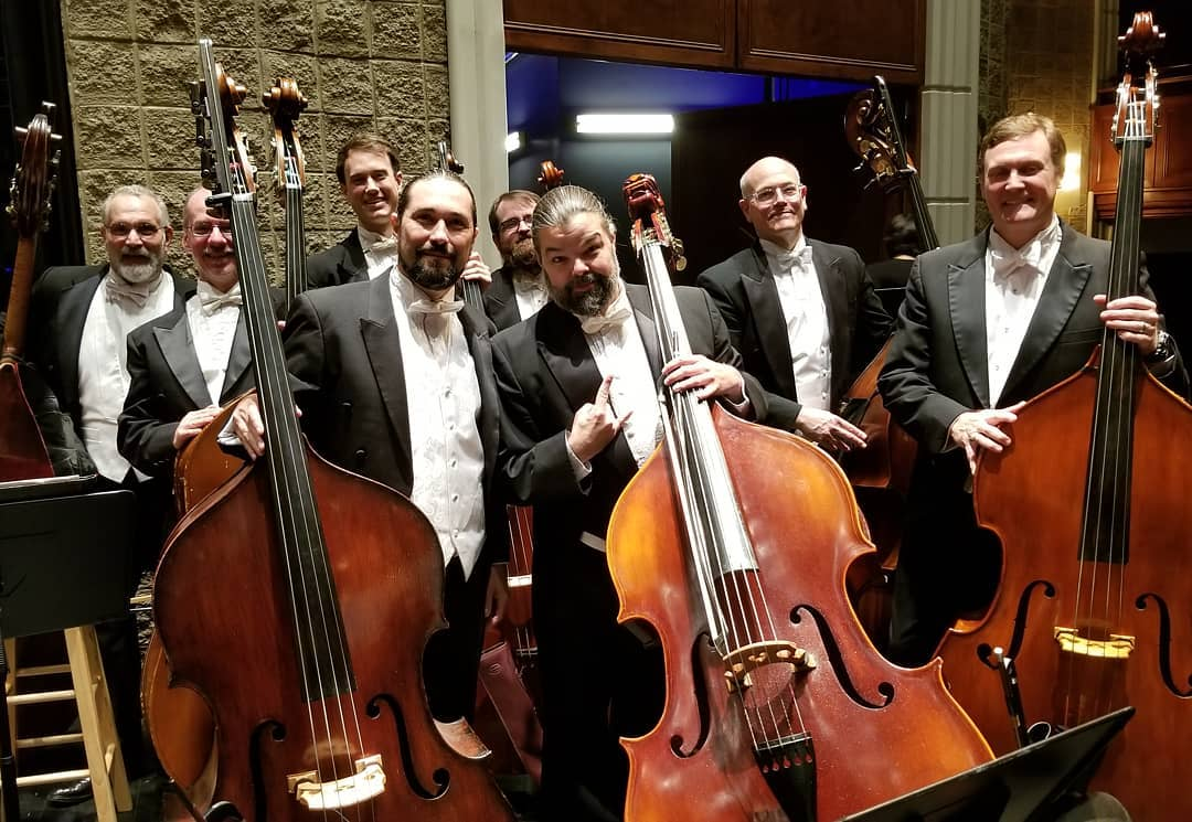 Greenville Symphony Orchestra double bass section May 7, 2019. L to R: Eliot, Tim Boykin, Matthew Wade, Gabriel Monticello, Levi Gable, Braxton (Bo)  Ballew, Ian Bracchitta (principal bass), Todd Beal.