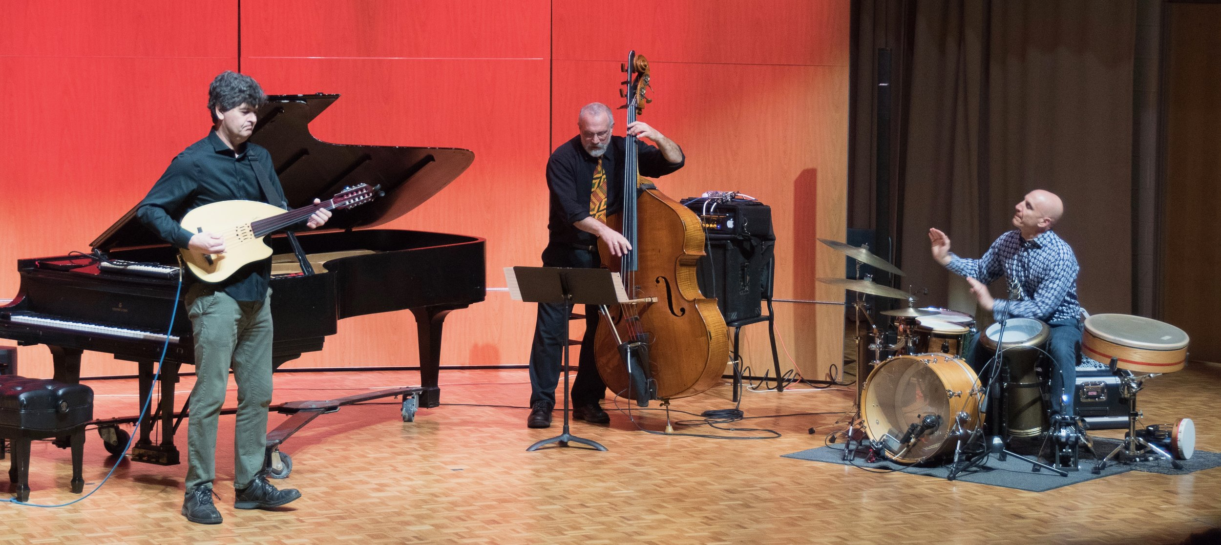Free Planet Radio performance Western Carolina University, April 2019. Chris Rosser-electric oud, Eliot Wadopian-double bass, River Guerguerian-percussion.