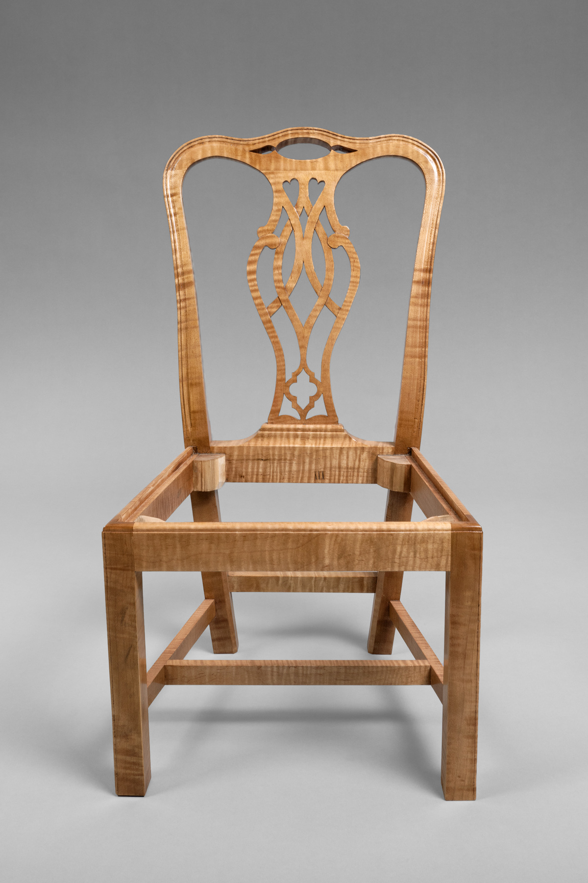 4/5 SCALE CHAIRS IN THE CHIPPENDALE STLYE HAND CRAFTED IN CURLY MAPLE