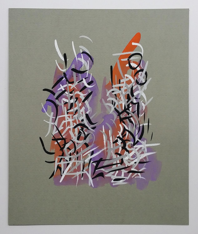 Radiations Series 1 , Drawing 9 (Orange/Purple)