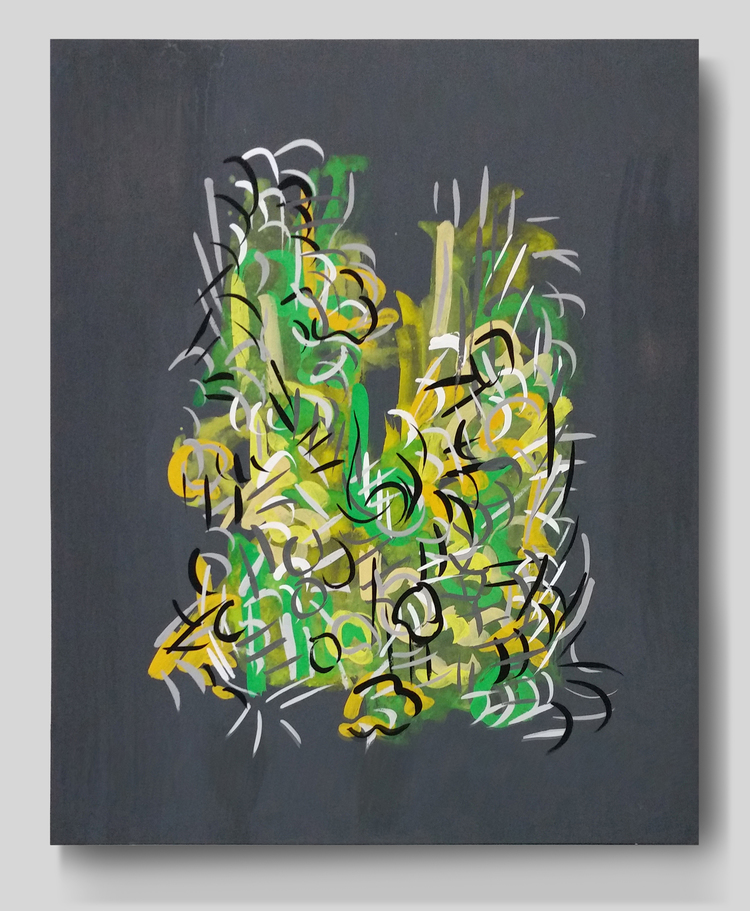 Radiations Series 1,  Drawing 8 (Yellow & Green on Gray)