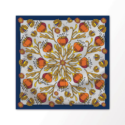 "New Scarf Design ""Desert Bloom"" in Modern Brights, 100% Silk 36"" x 36"" square"