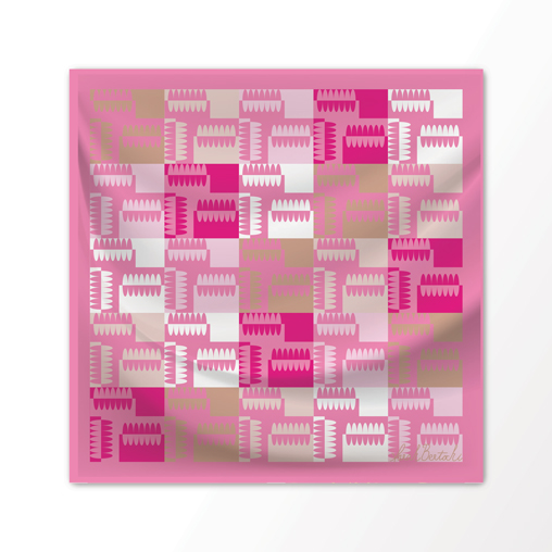 "New Scarf Design ""Circuit"" in Desert Pinks, 100% Silk 36"" x36"" square"