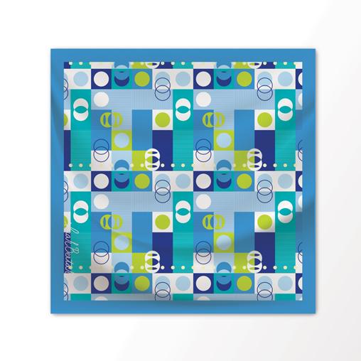 "New Scarf Design ""Packman"" in Sea Breeze, 100% Silk 36"" x 36"" square"