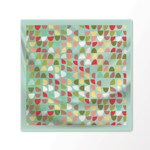 "New Scarf Design ""Rainbow Sprinkle"" in Mint Chip, 100% Silk 36"" x 36"" square"
