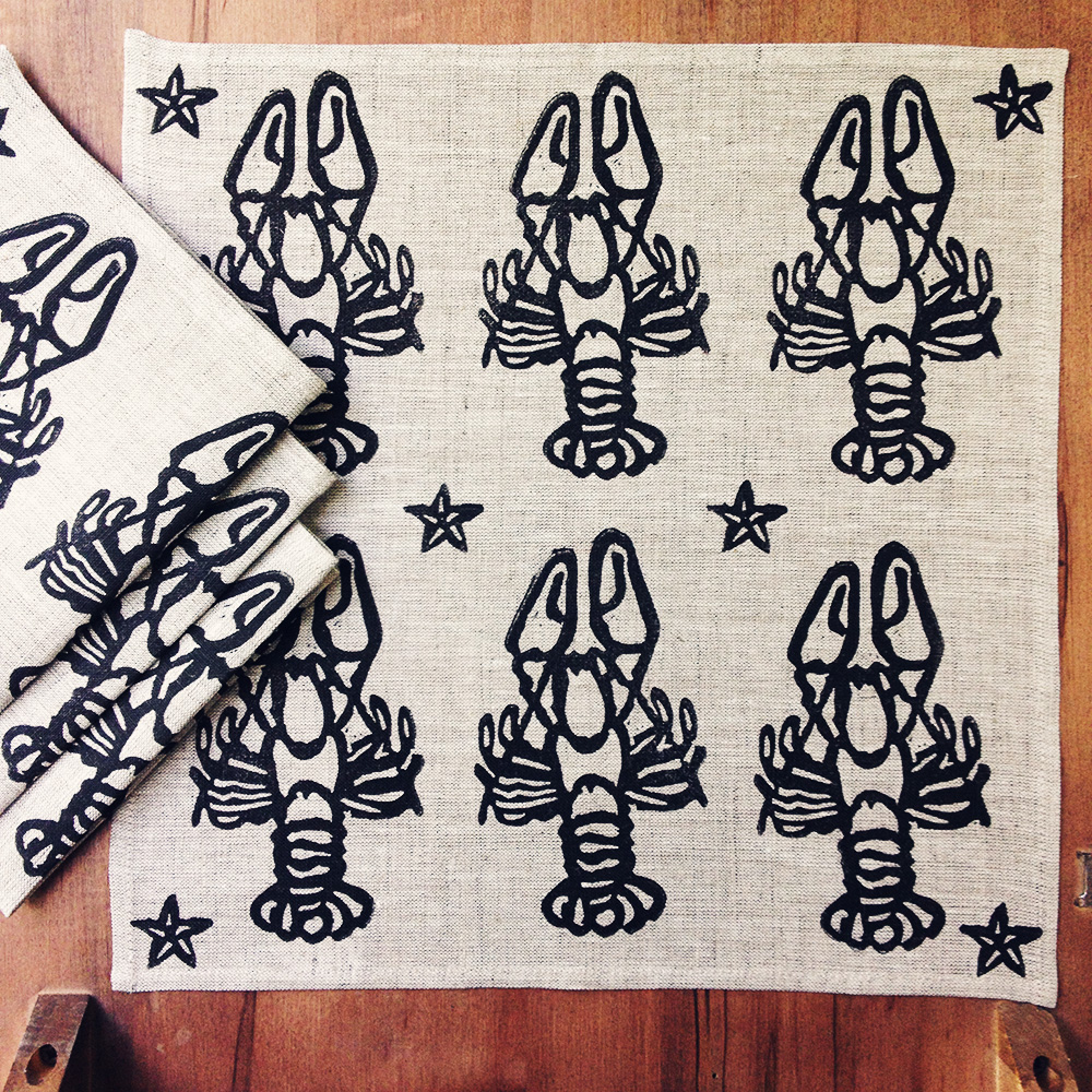 "100% Linen Napkin, 13"" x 13"", Block Printed"