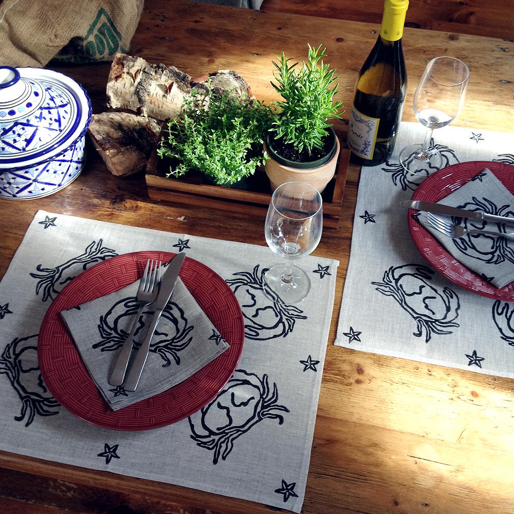 "Place mat, ""Crusty Crab"" in Black, Block Printed, 100% Linen 15"" x 19"""