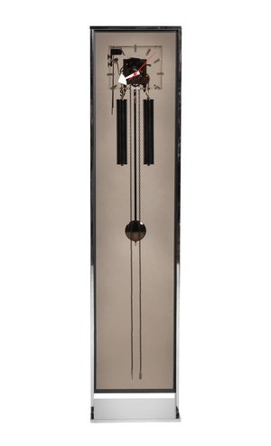 Howard Miller chrome and smoked-lucite grandfather clock