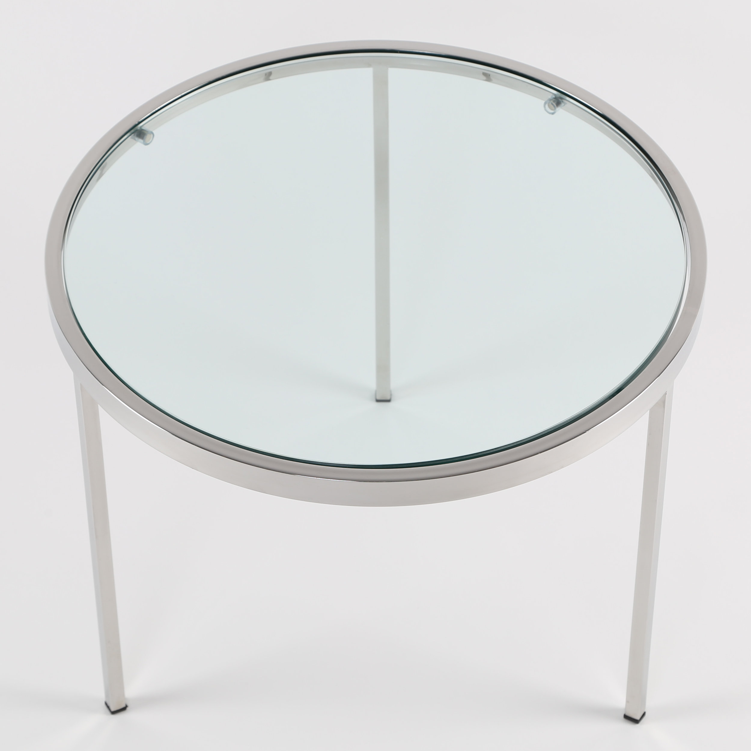 Milo Baughman Round Chrome Side Table With Inset Gl Top Circa 1970s Full Circle Modern