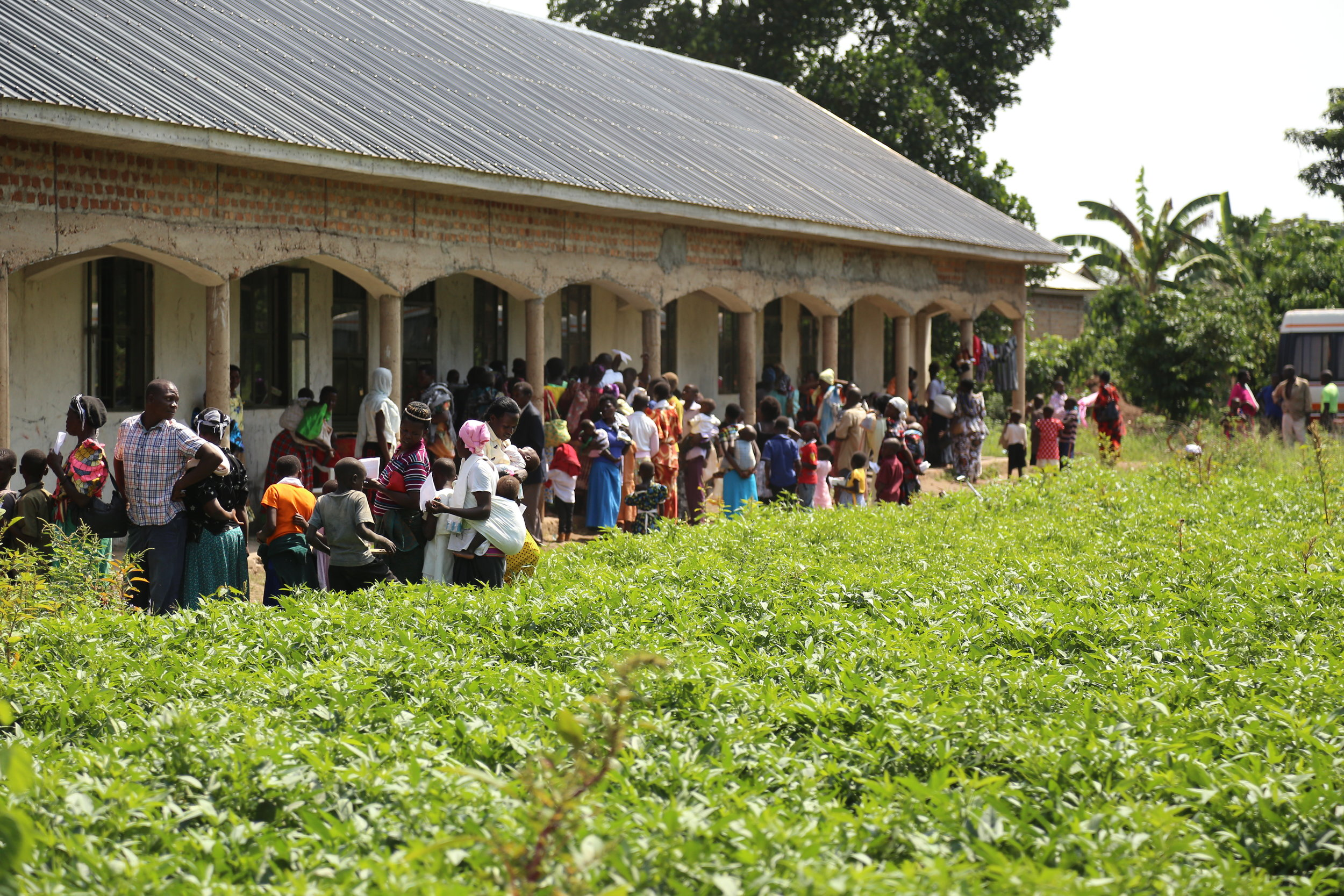Village School Block #1 - people lining up for medical clinic