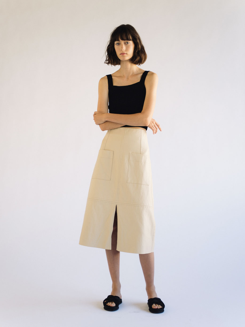 VEGAN LEATHER A-LINE SKIRT - CREAM — MIJEONG PARK - LA based womenswear  label