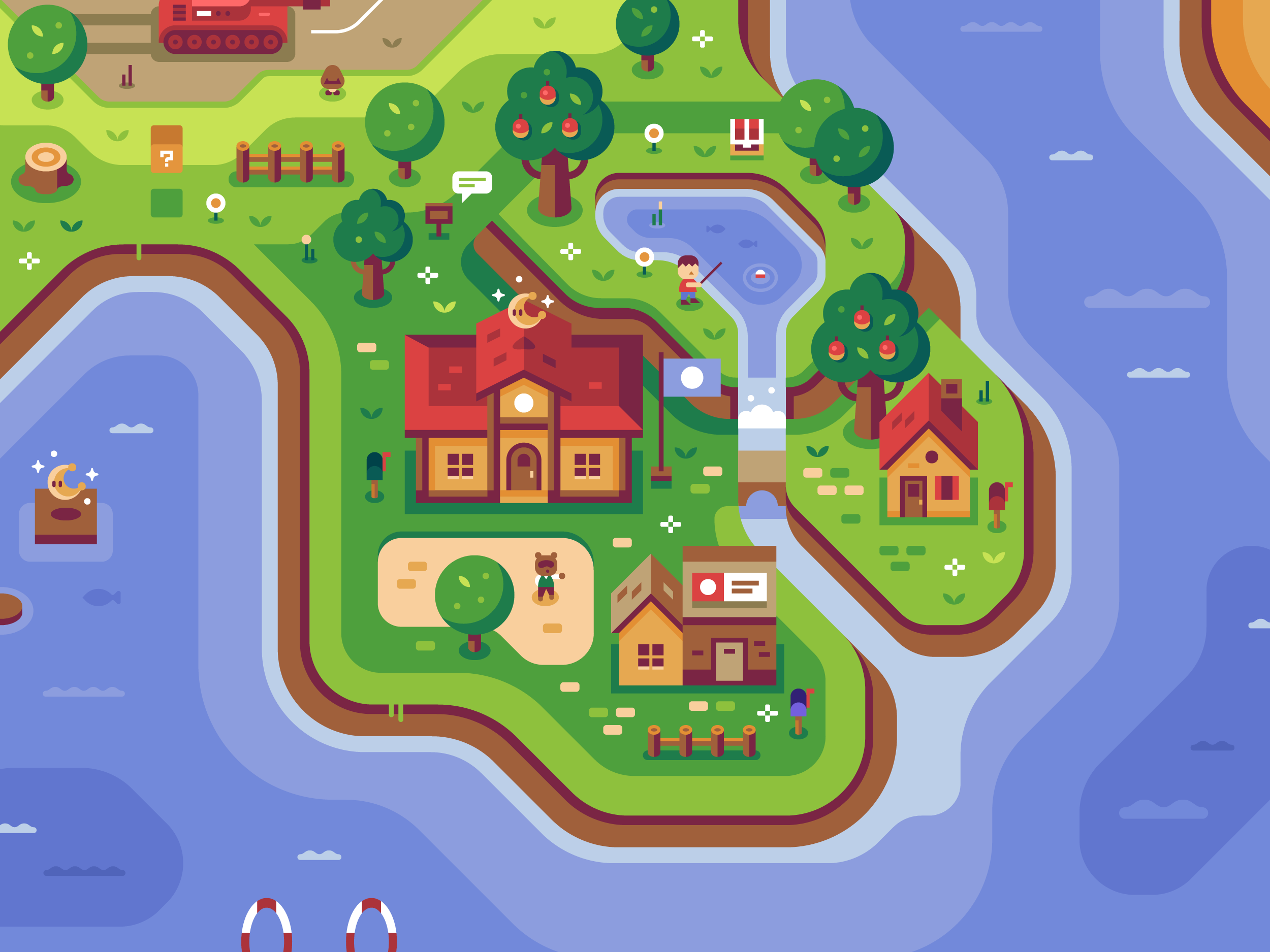 Animal Crossing, Discord Office Mural illustrations by Matt Anderson and Canopy Design and Illustration