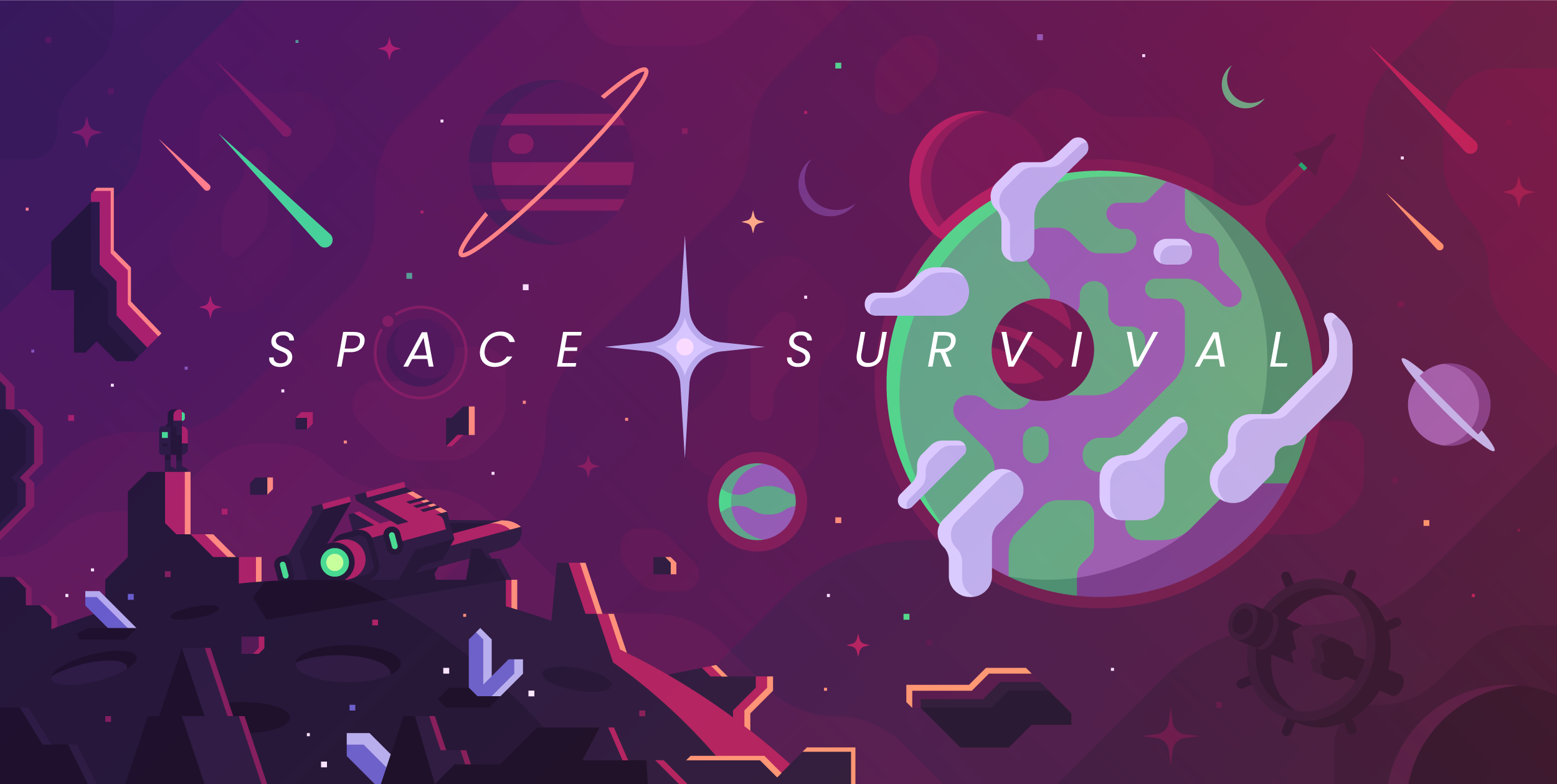 """This key art served to define the game's overall style and story, with """"Space Survival"""" as the working title."""