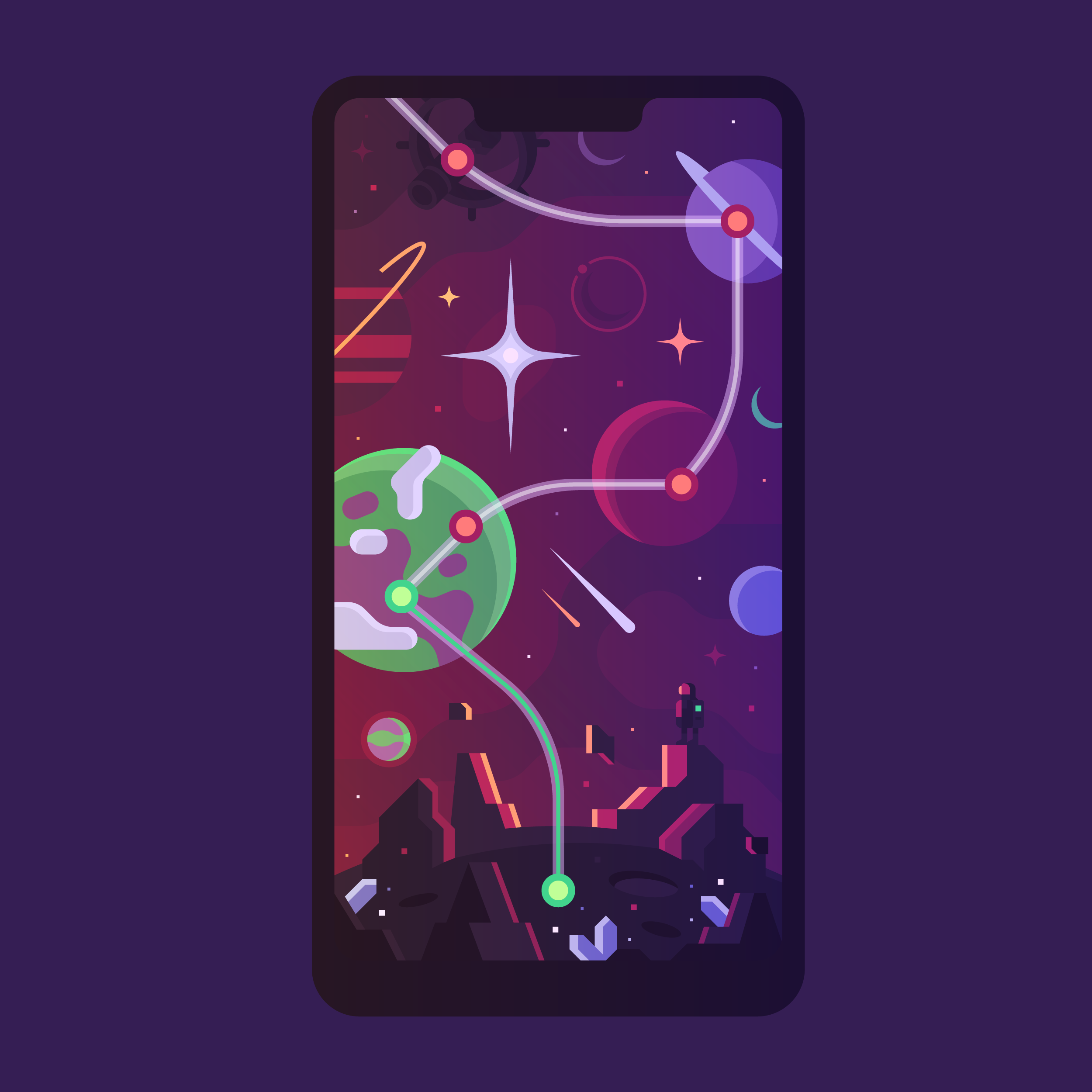 This design shows how the player would travel to different planets, space stations and more.
