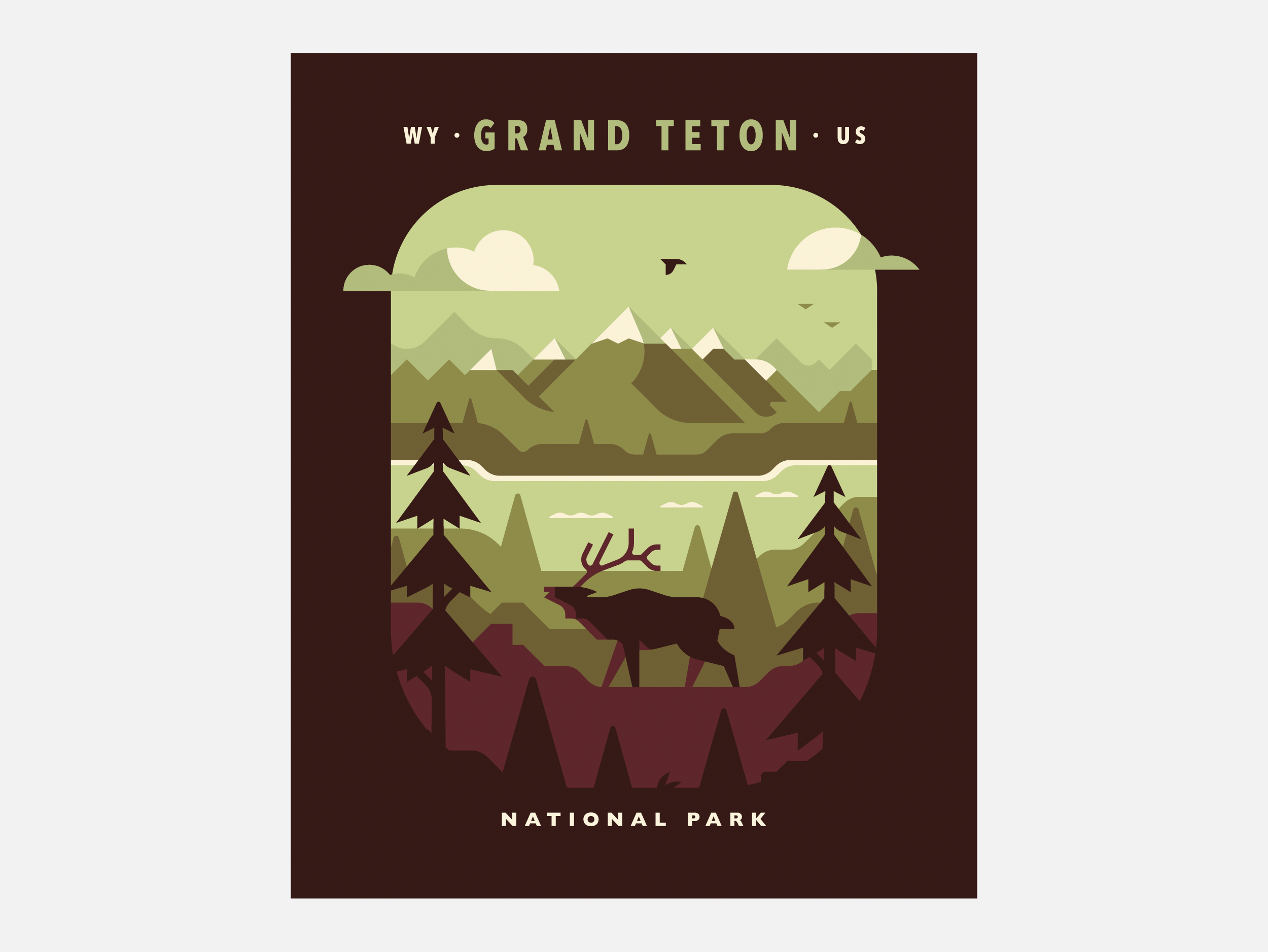 Grand Teton National Park poster design by Matt Anderson and Canopy Design. Limited color illustration of mountains, lake, trees and an elk.