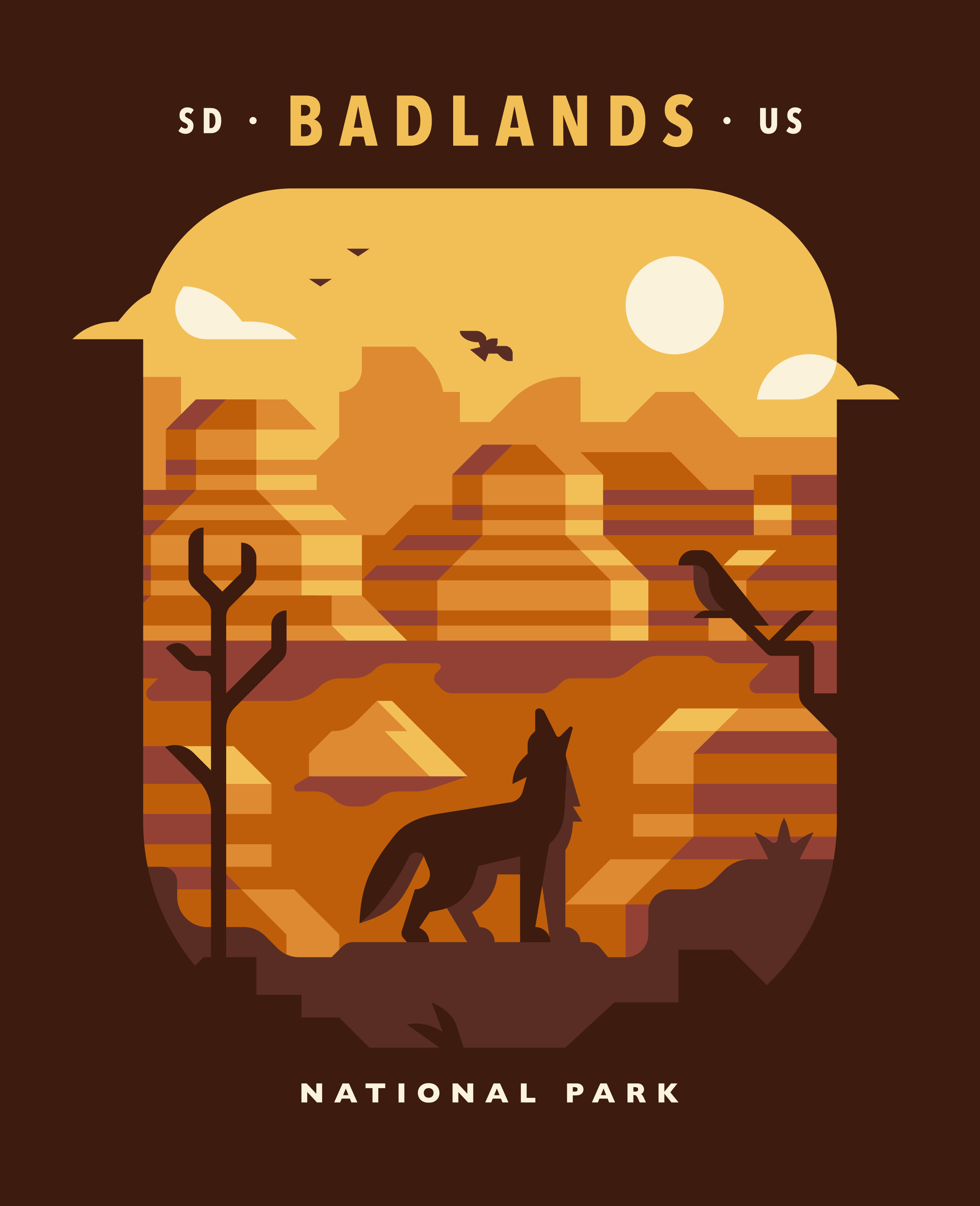 Badlands National Park poster design by Matt Anderson and Canopy Design. Limited color illustration of a desert canyon, bird, trees and a coyote.