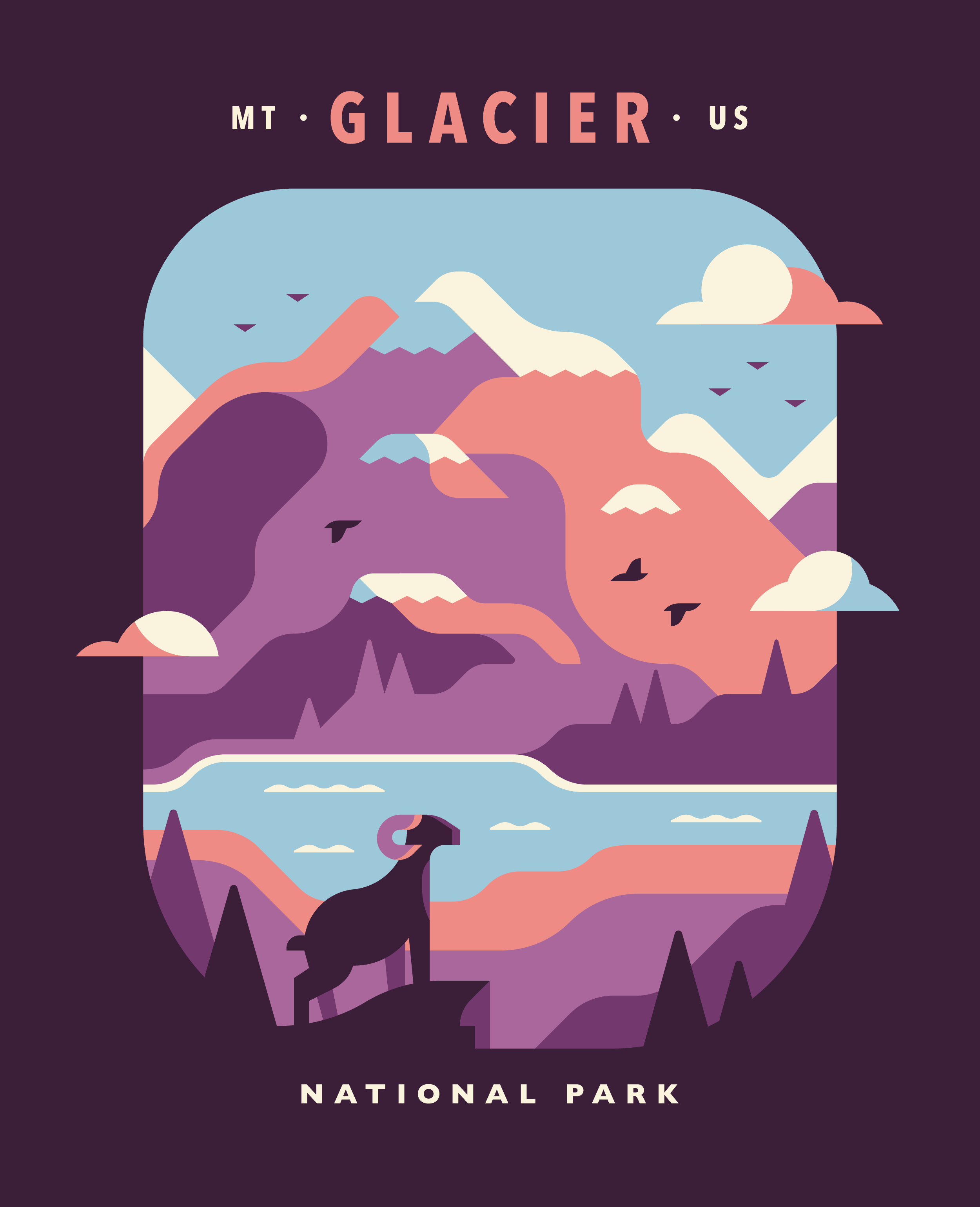 Glacier National Park poster design by Matt Anderson and Canopy Design. Limited color illustration of mountains, trees and a bighorn sheep.