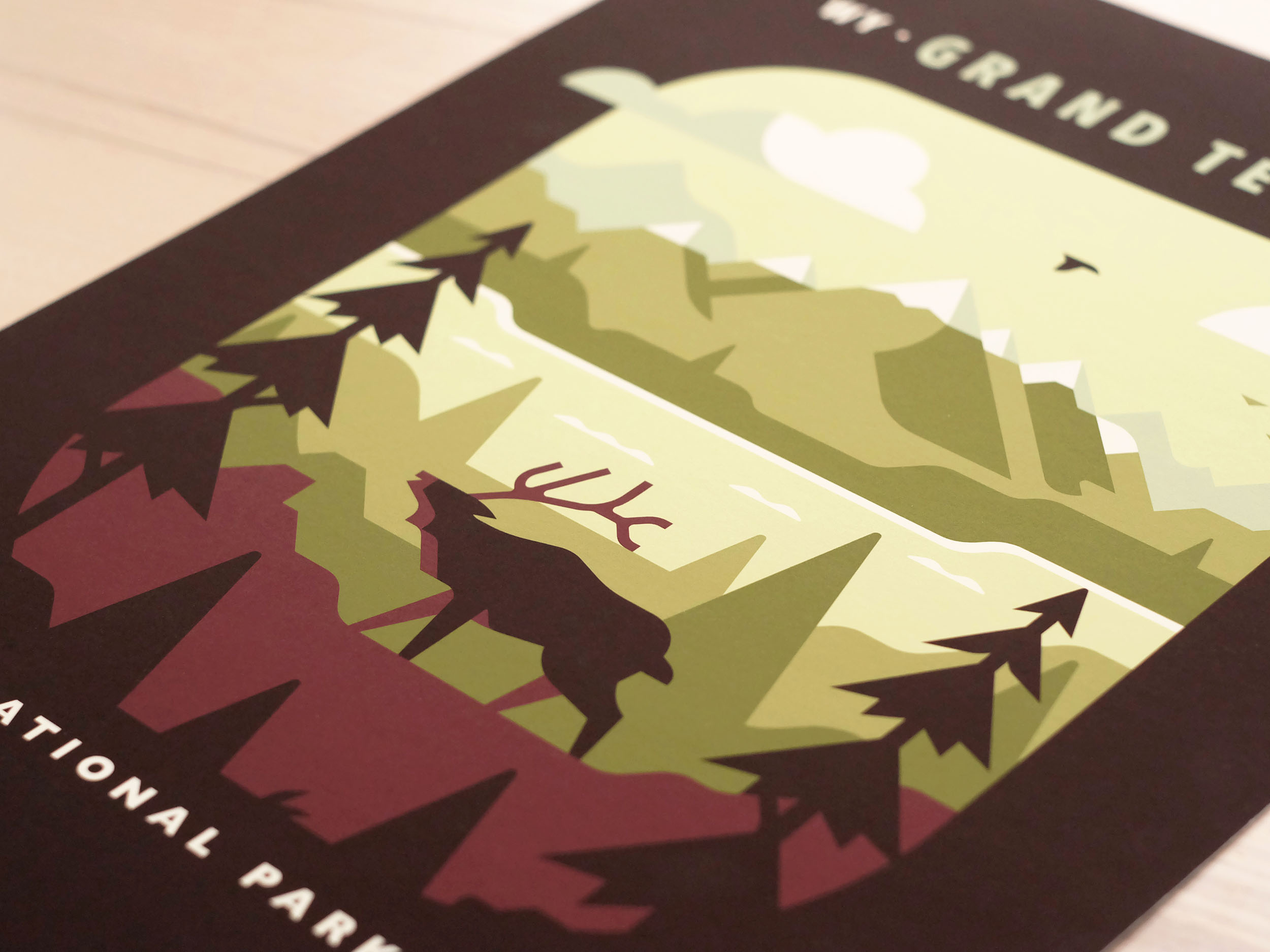 Grand Teton National Park poster photo by Matt Anderson and Canopy Design. Limited color illustration of mountains, lake, trees and an elk.