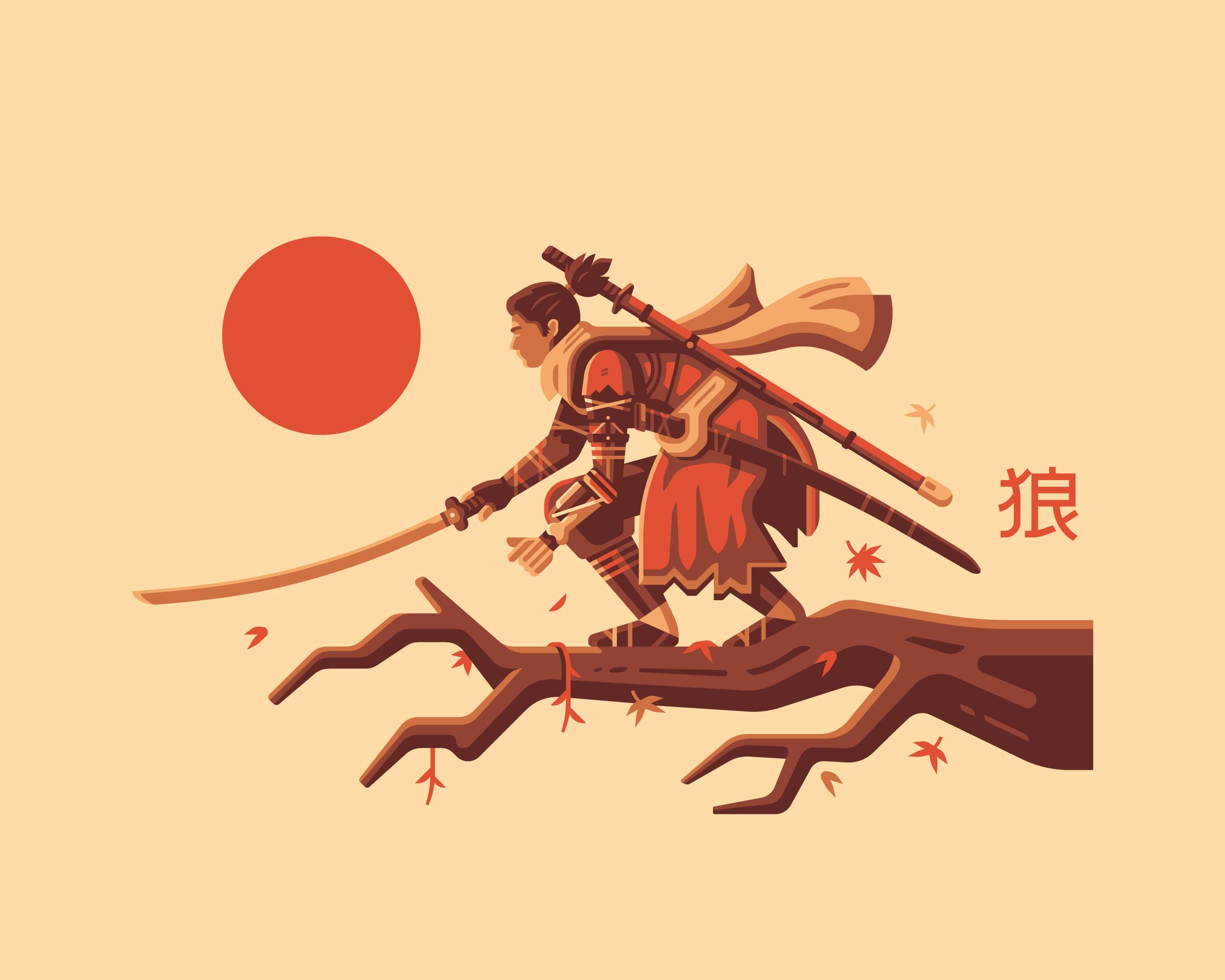 An illustration by Matt Anderson inspired by Sekiro. Shinobi on Japanese Maple tree with katana.