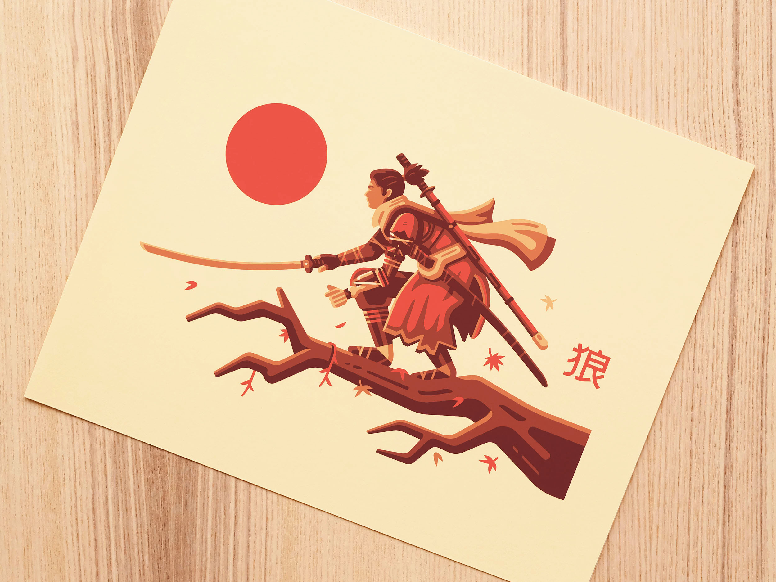 Photo of print illustration by Matt Anderson inspired by Sekiro. Shinobi on Japanese Maple tree with katana.