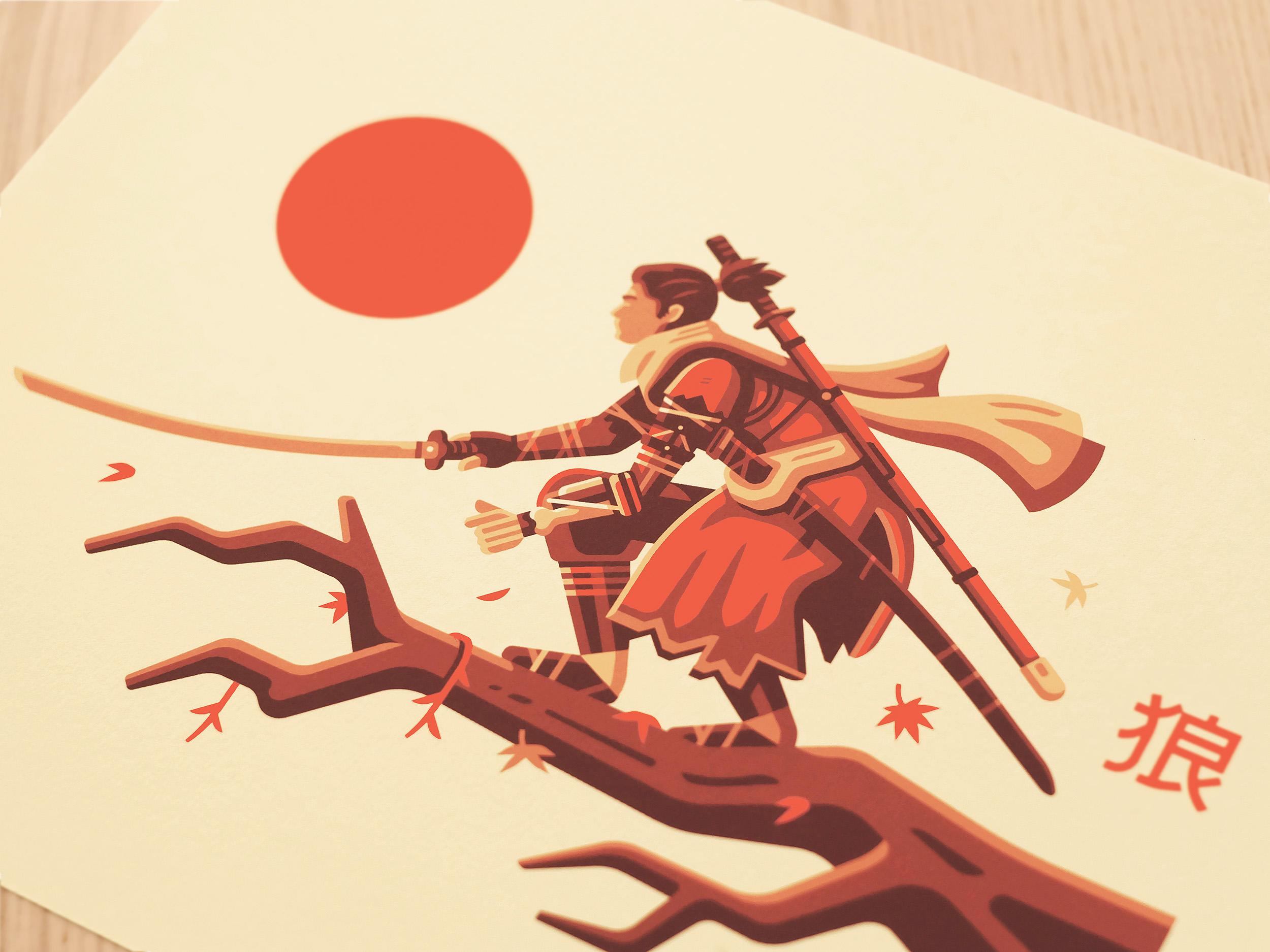 Detail photo of print illustration by Matt Anderson inspired by Sekiro. Shinobi on Japanese Maple tree with katana.