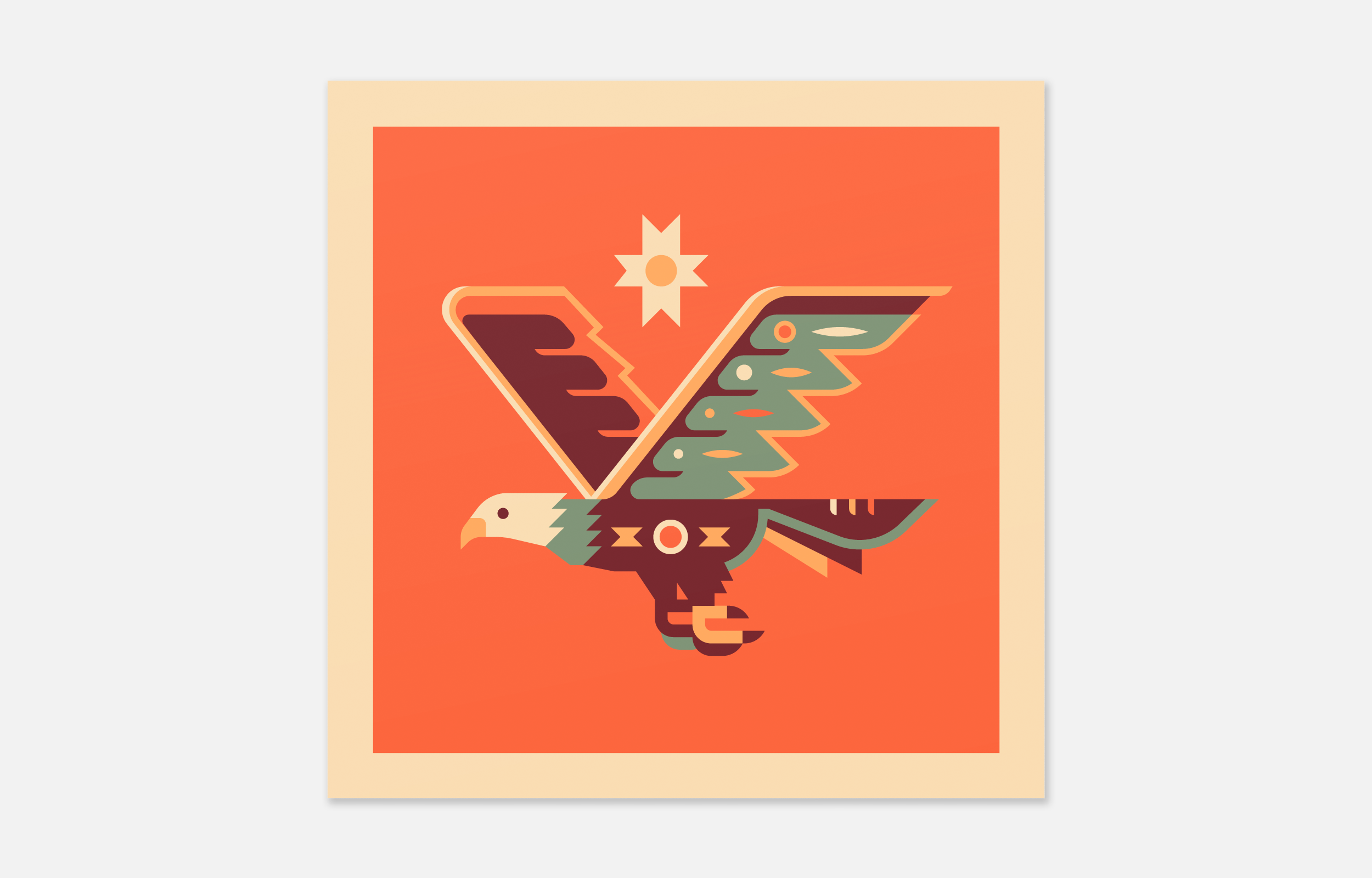 Eagle totem design by Matt Anderson and Canopy Design. Limited color, geometric pattern illustration with Navajo southwest art style.
