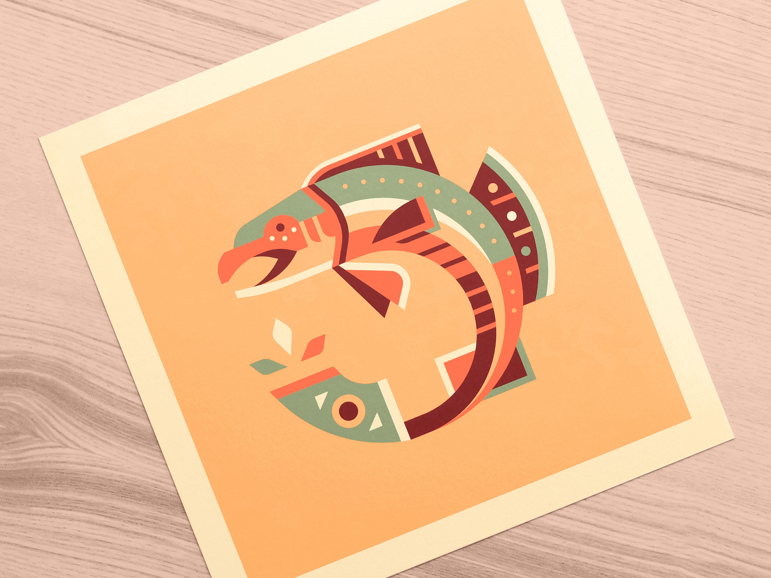 Salmon totem print photo by Matt Anderson and Canopy Design. Limited color, geometric pattern illustration with Navajo southwest art style.