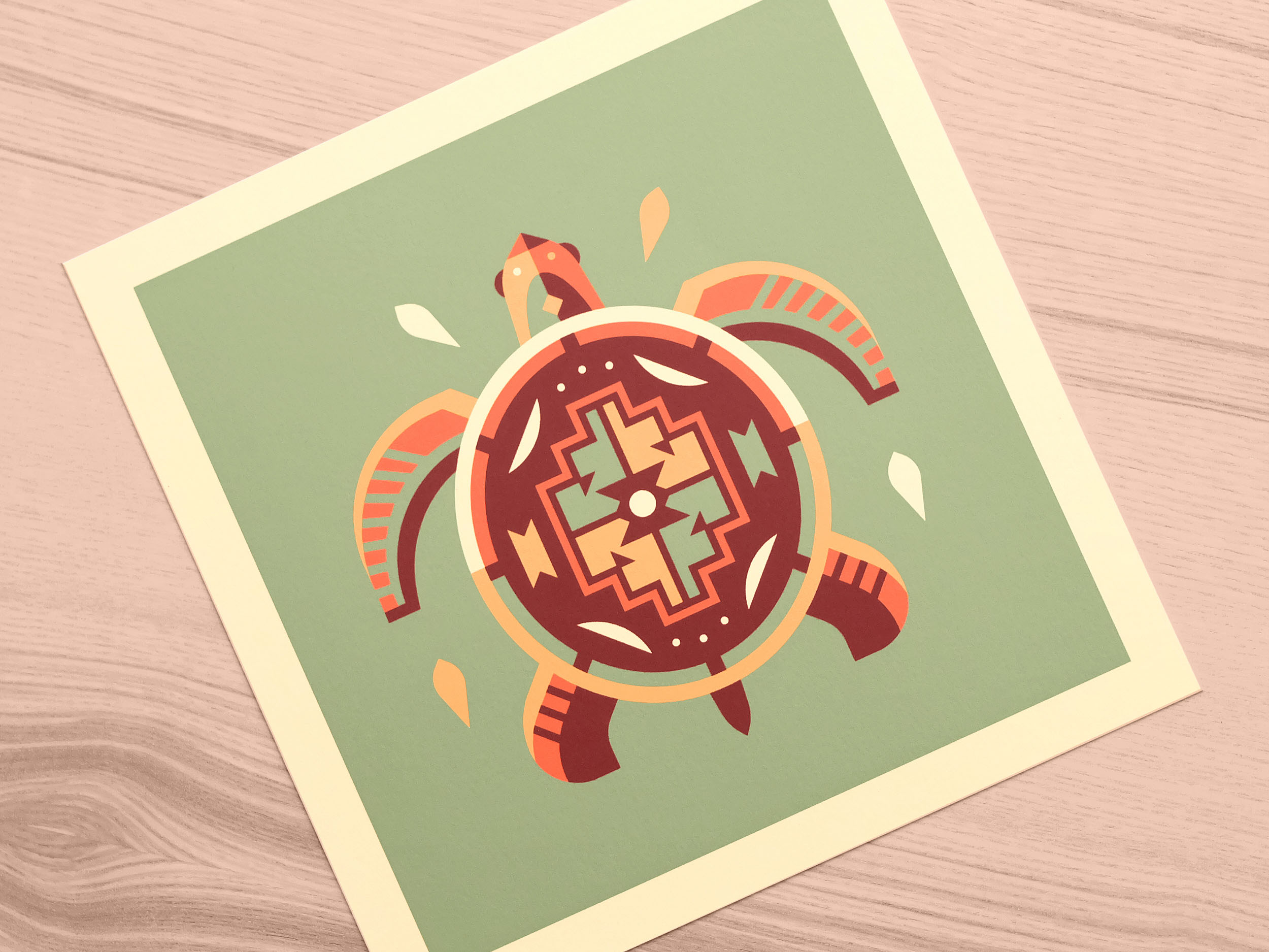 Turtle totem print photo by Matt Anderson and Canopy Design. Limited color, geometric pattern illustration with Navajo southwest art style.