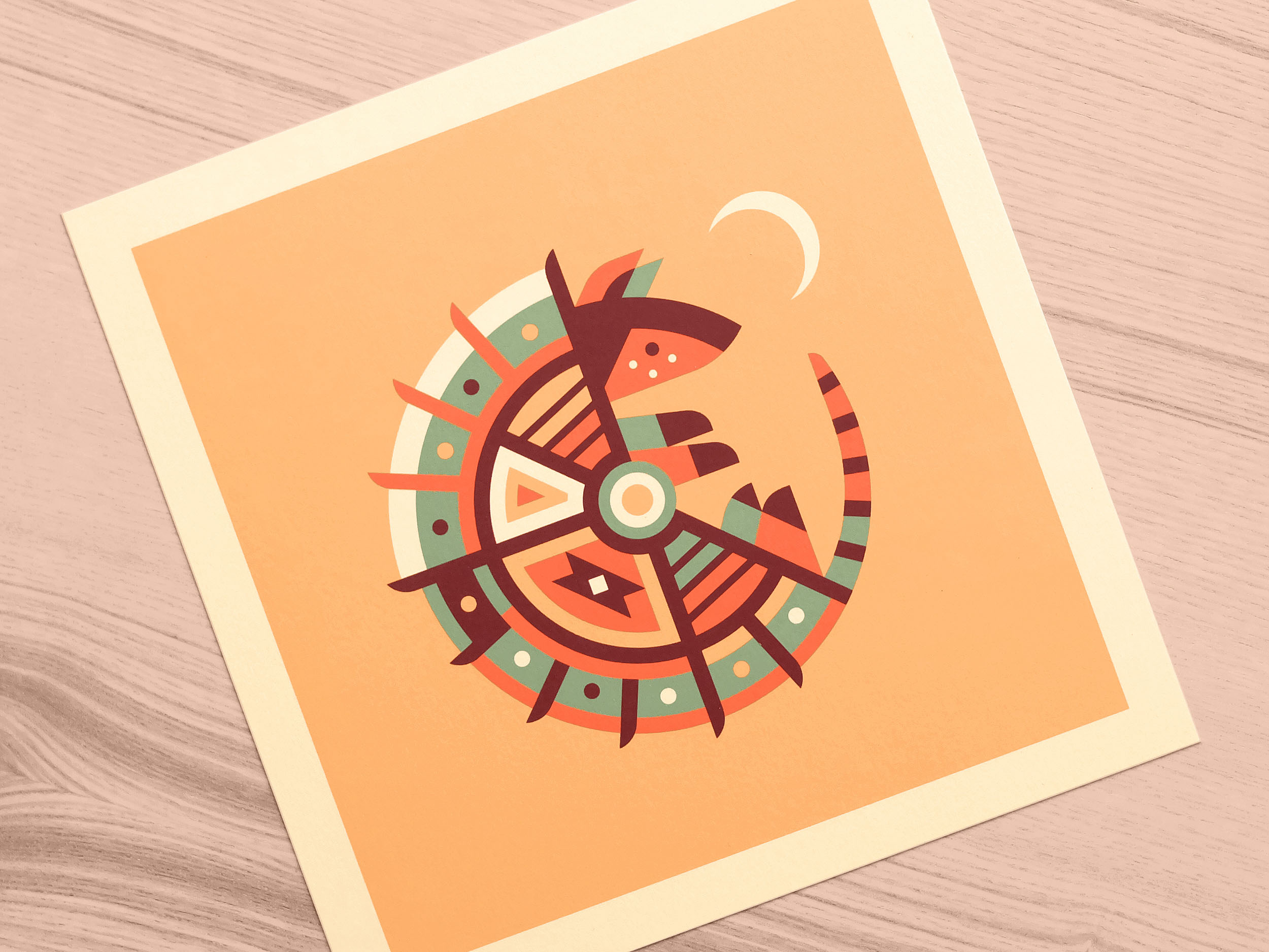 Armadillo totem print photo by Matt Anderson and Canopy Design. Limited color, geometric pattern illustration with Navajo southwest art style.