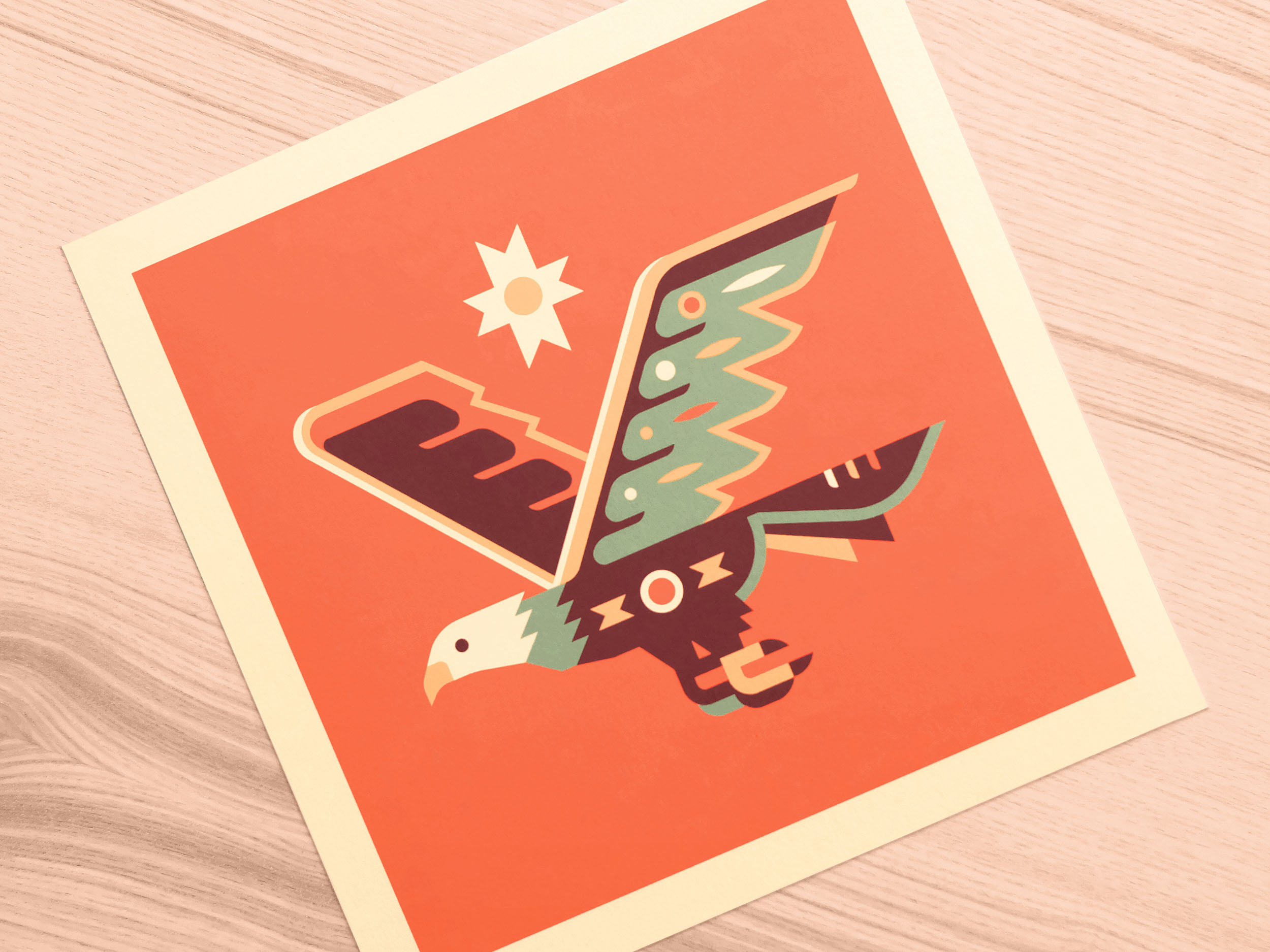 Eagle totem print photo by Matt Anderson and Canopy Design. Limited color, geometric pattern illustration with Navajo southwest art style.