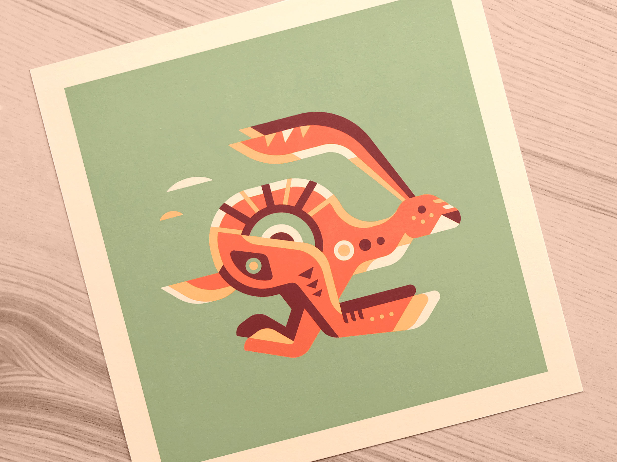 Jackrabbit totem print photo by Matt Anderson and Canopy Design. Limited color, geometric pattern illustration with Navajo southwest art style.