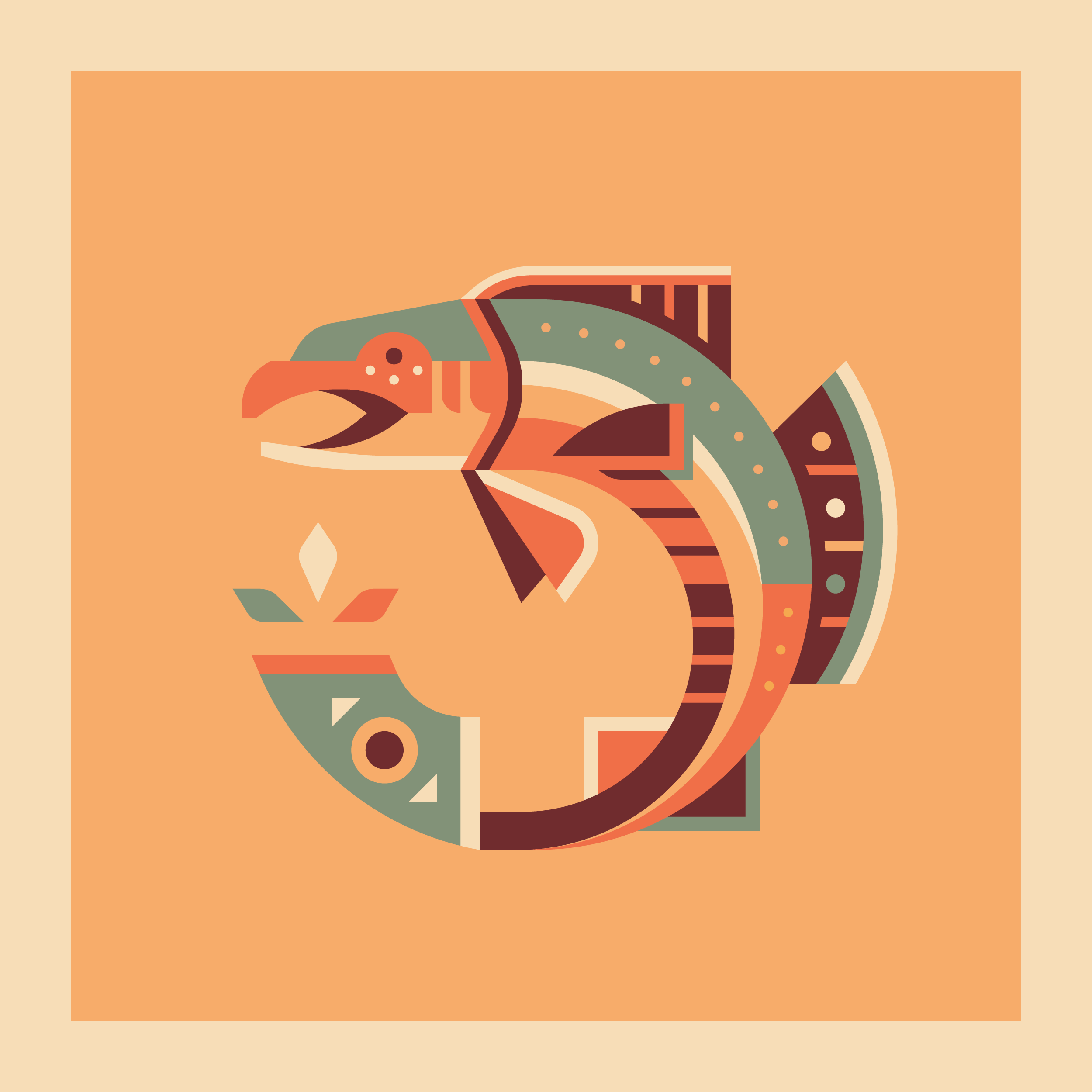 Salmon totem design by Matt Anderson and Canopy Design. Limited color, geometric pattern illustration with Navajo southwest art style.