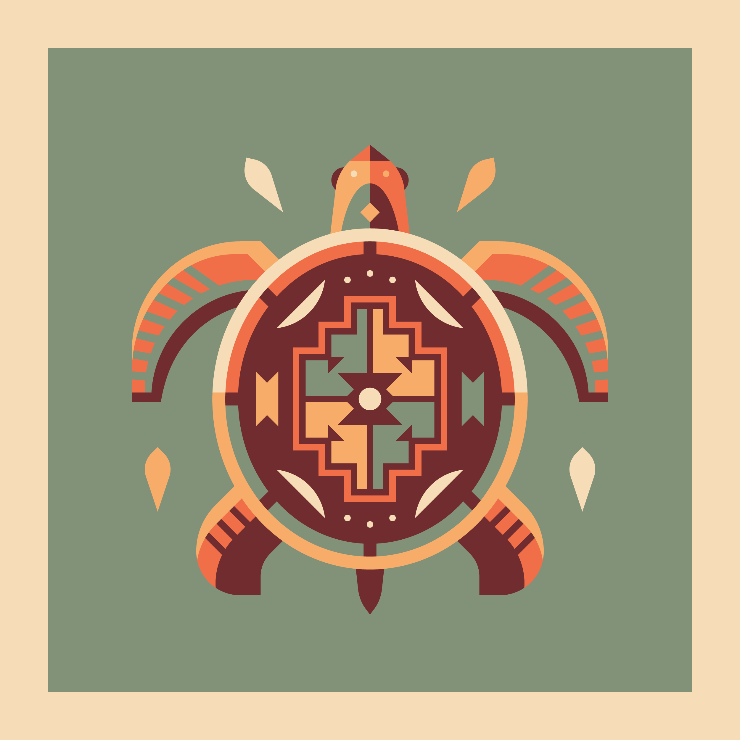 Turtle totem design by Matt Anderson and Canopy Design. Limited color, geometric pattern illustration with Navajo southwest art style.