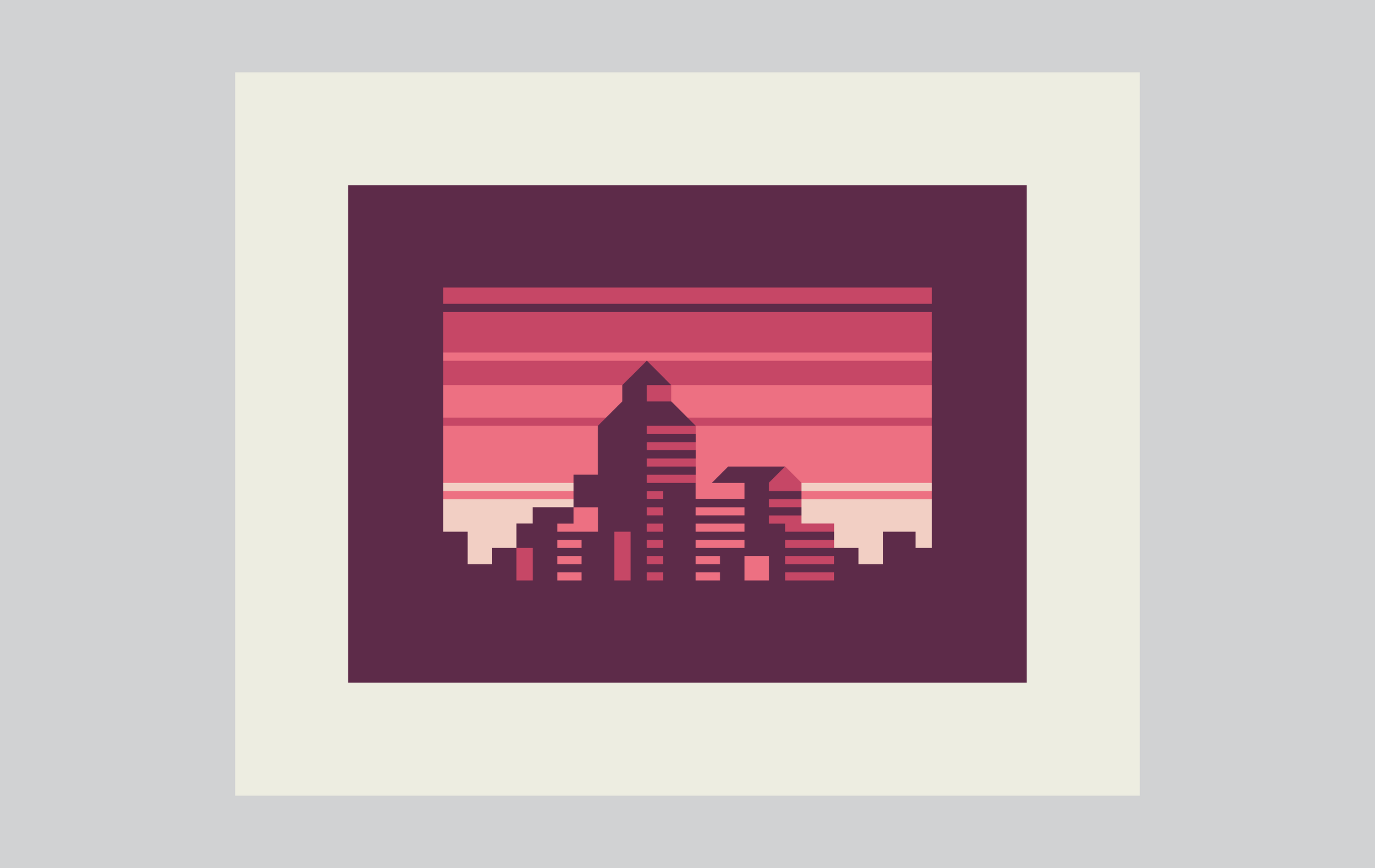 Abstract Cities: Ruby design by Matt Anderson and Canopy Design. Limited color, geometric city skyline.