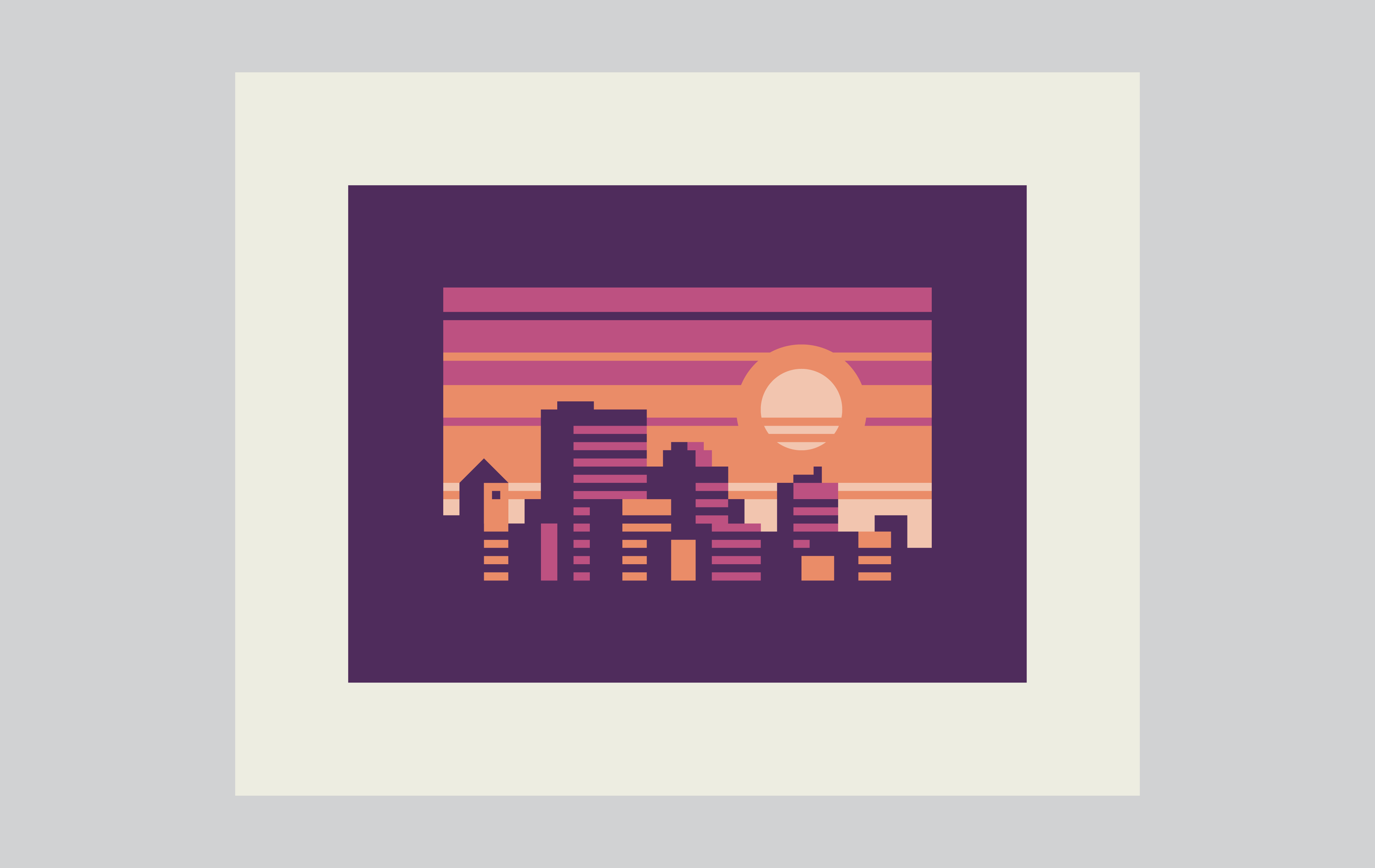 Abstract Cities: Ametrine design by Matt Anderson and Canopy Design. Limited color, geometric city skyline.