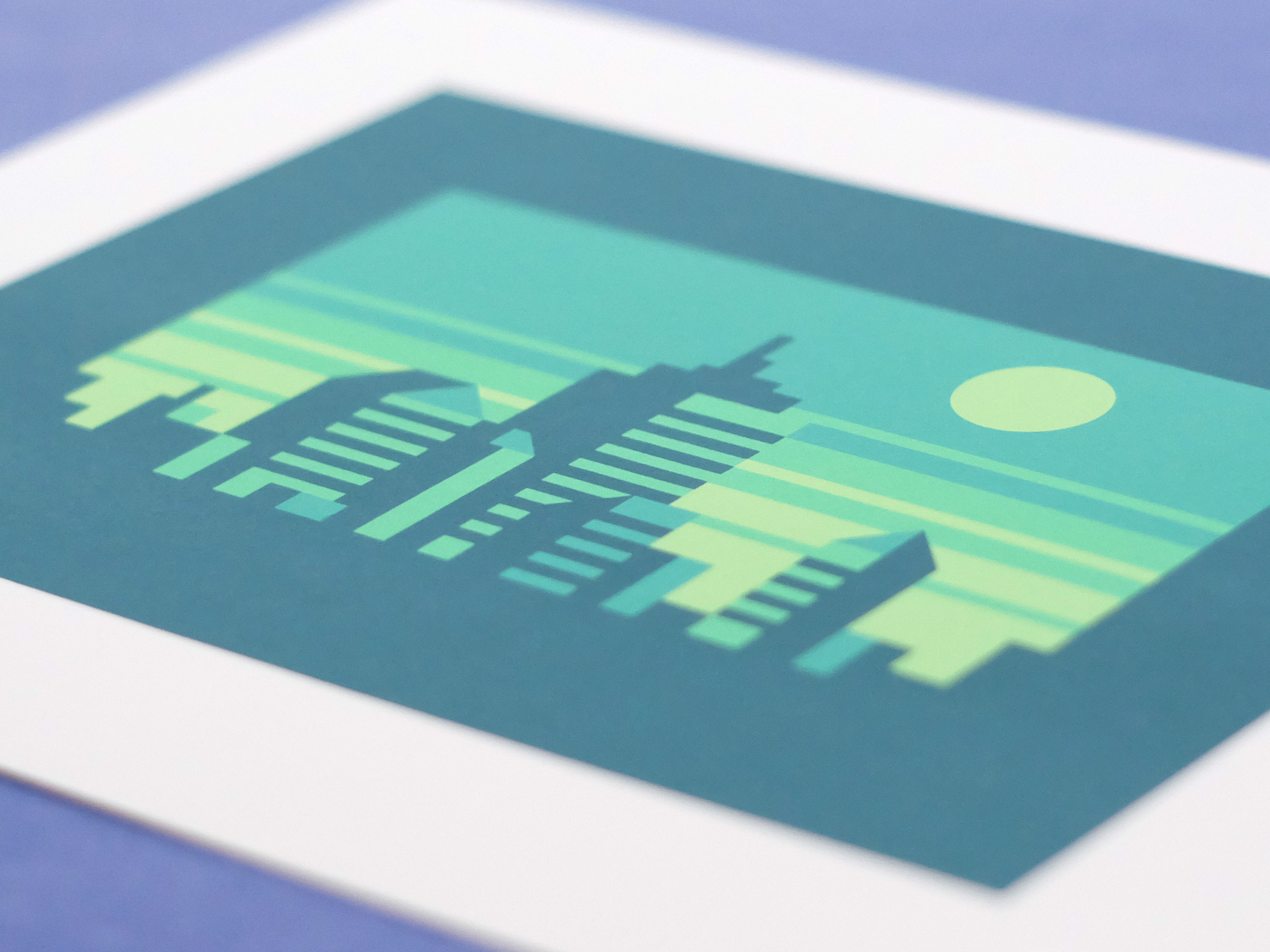 Abstract Cities: Emerald design photo by Matt Anderson and Canopy Design. Limited color, geometric city skyline.