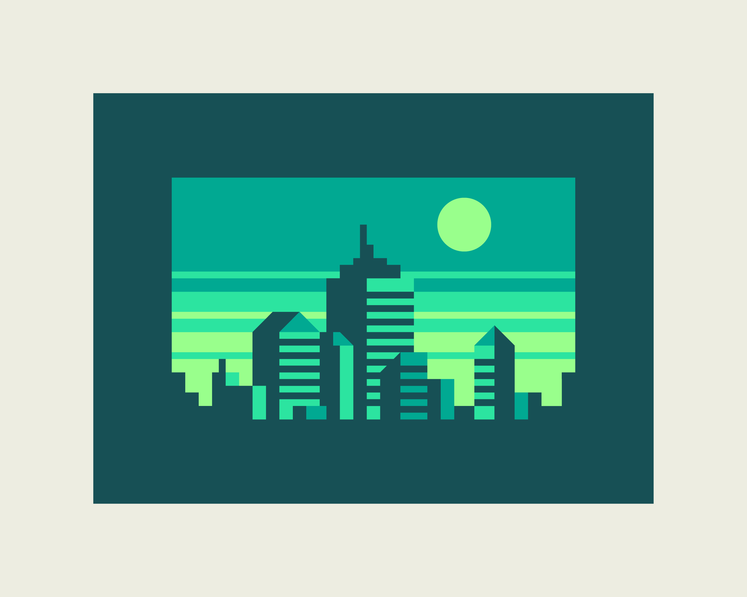 Abstract Cities: Emerald design by Matt Anderson and Canopy Design. Limited color, geometric city skyline.