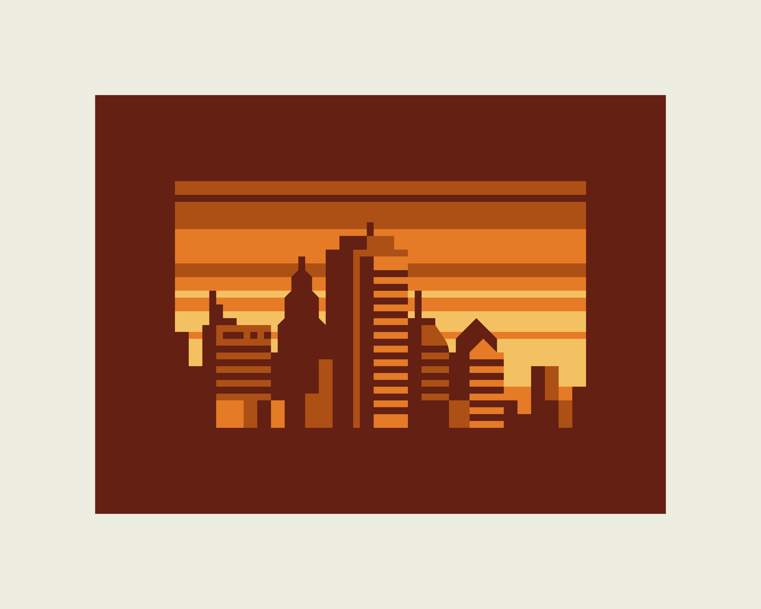 Abstract Cities: Amber design by Matt Anderson and Canopy Design. Limited color, geometric city skyline.