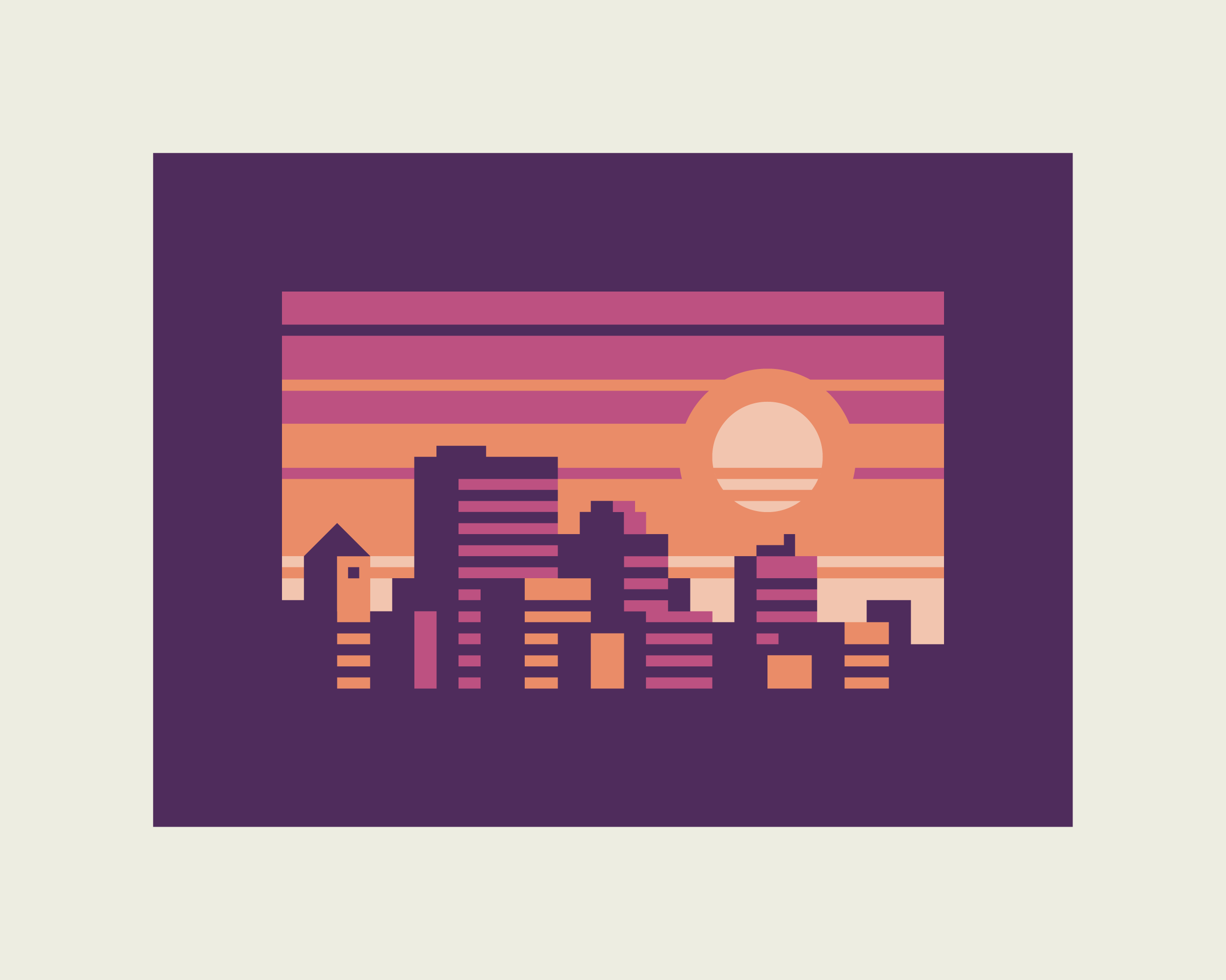 Amber Cities: Ametrine design by Matt Anderson and Canopy Design. Limited color, geometric city skyline.