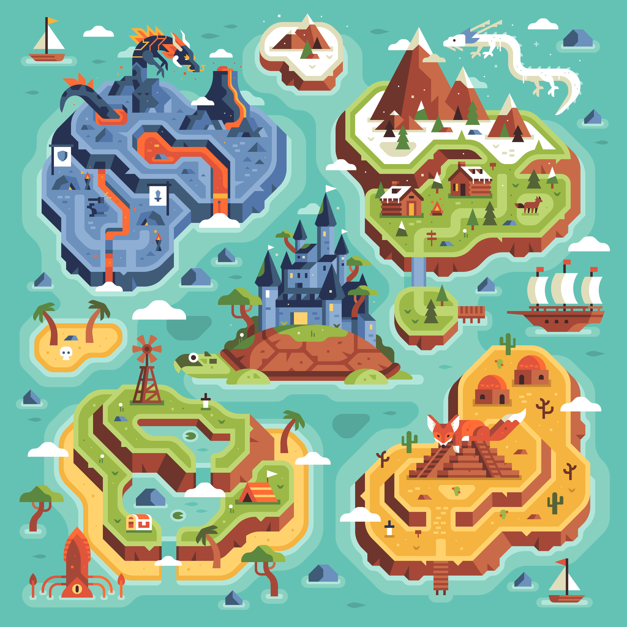 Two Dots Treasure Hunt Map, Level Uplands by Matt Anderson and Canopy Design and Illustration