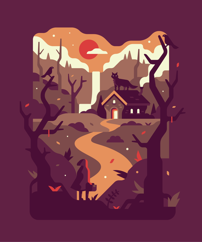 Fandom Dark Fairytales Little Red Riding Hood illustration. Series by Matt Anderson and Canopy Design and Illustration.
