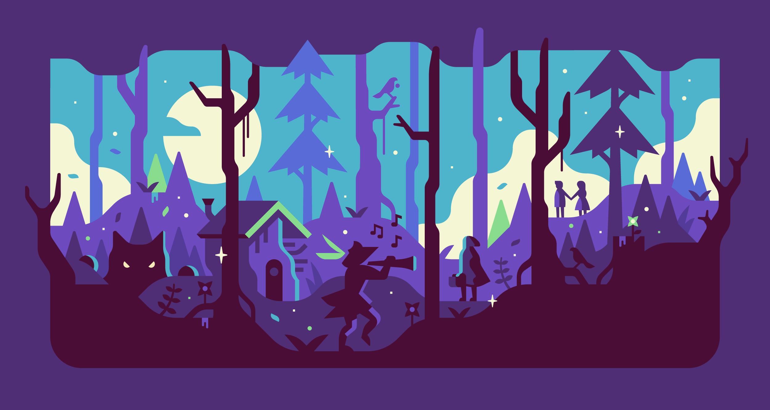Fandom Dark Fairytales hero illustration. Series by Matt Anderson and Canopy Design and Illustration.