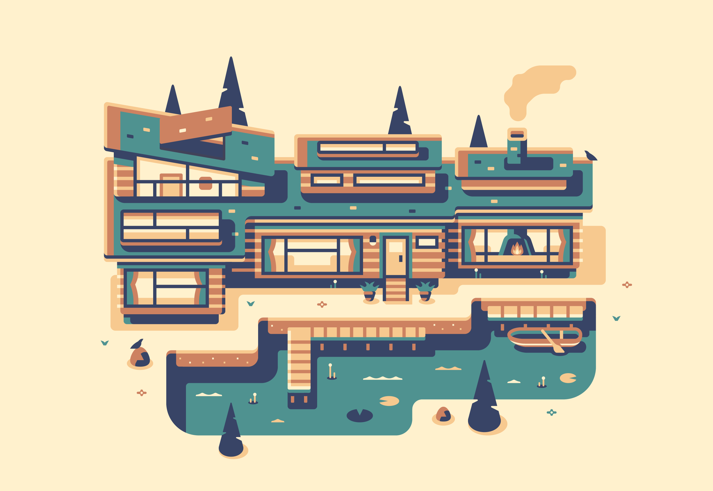 Lake House, Modern Home series illustration by Matt Anderson and Canopy Design and Illustration