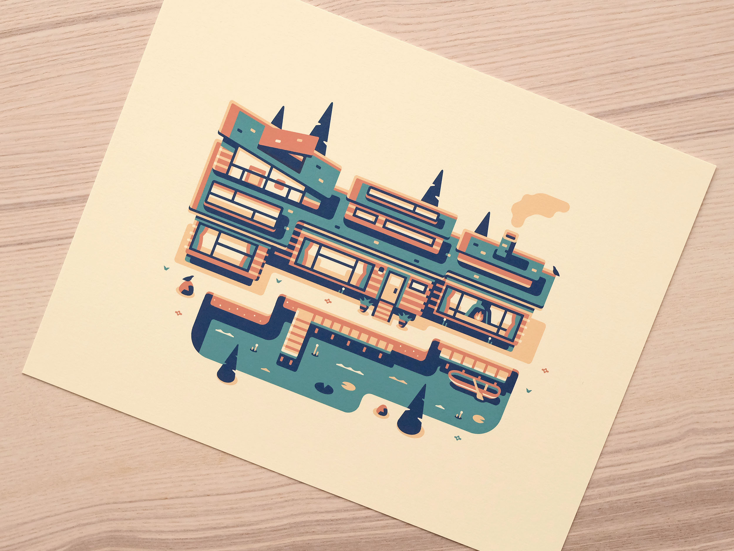 Lake House print photo, Modern Home series illustration by Matt Anderson and Canopy Design and Illustration