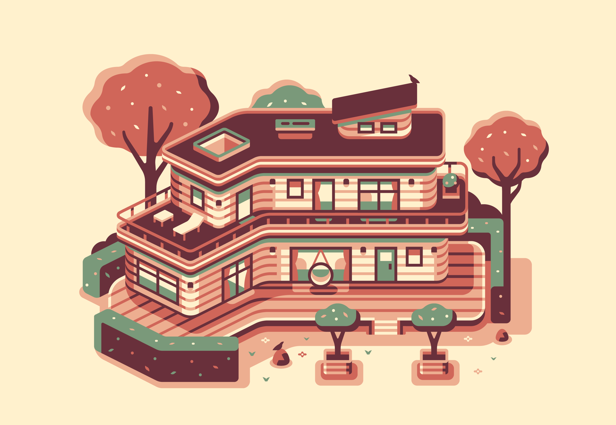 Woodland House, Modern Home series illustration by Matt Anderson and Canopy Design and Illustration
