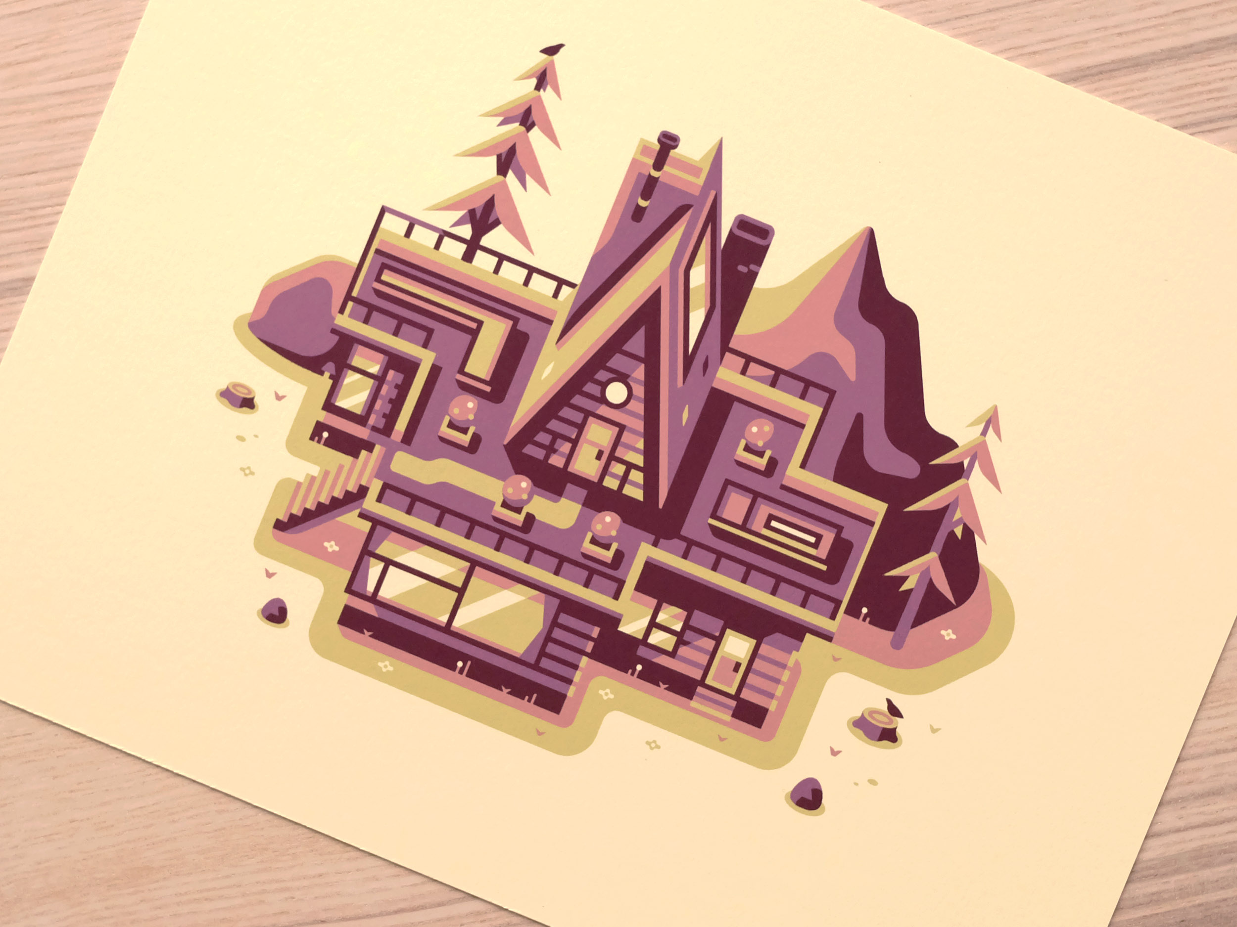 Mountain House print photo, Modern Home series illustration by Matt Anderson and Canopy Design and Illustration