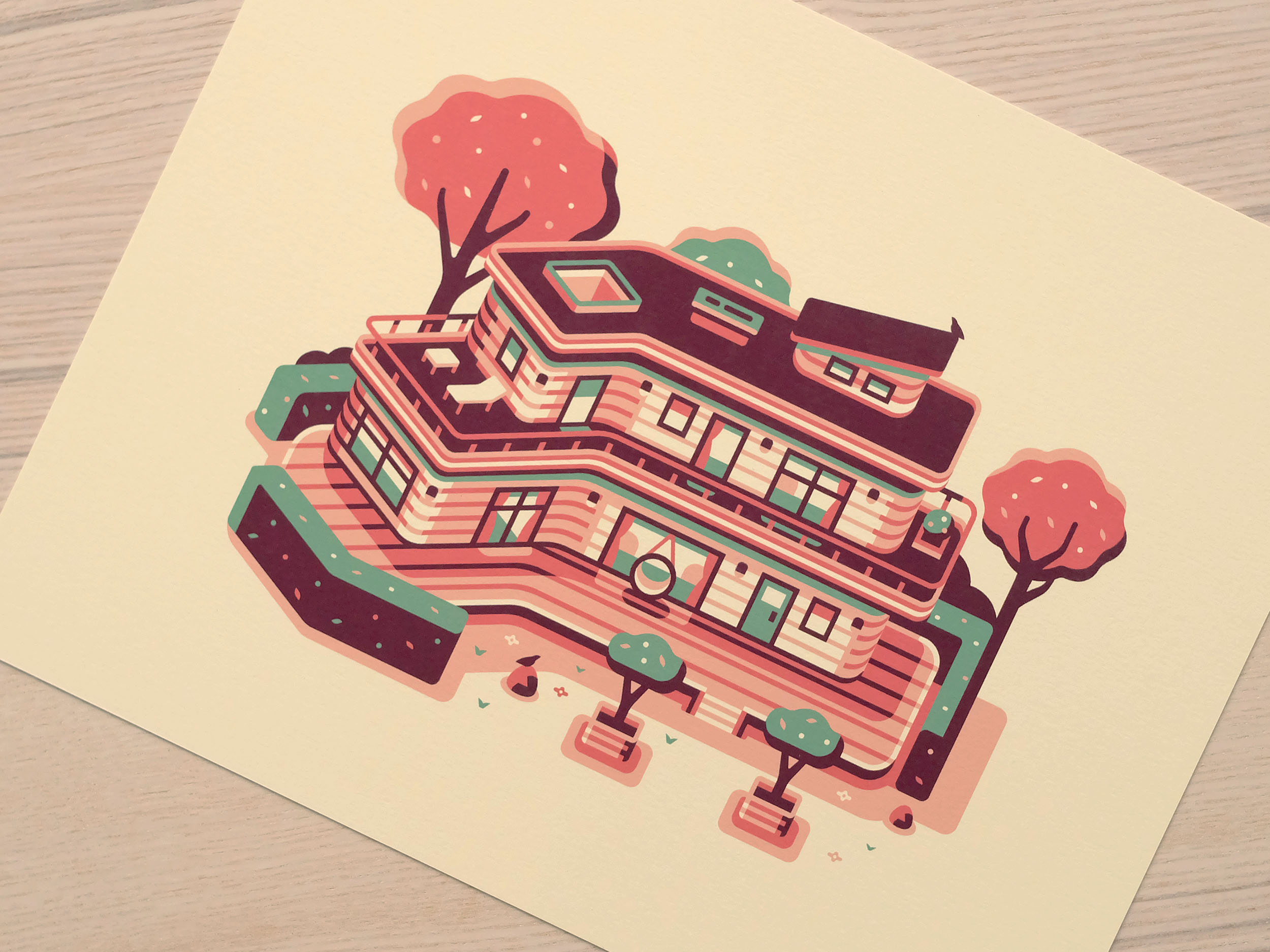 Woodland House print photo, Modern Home series illustration by Matt Anderson and Canopy Design and Illustration