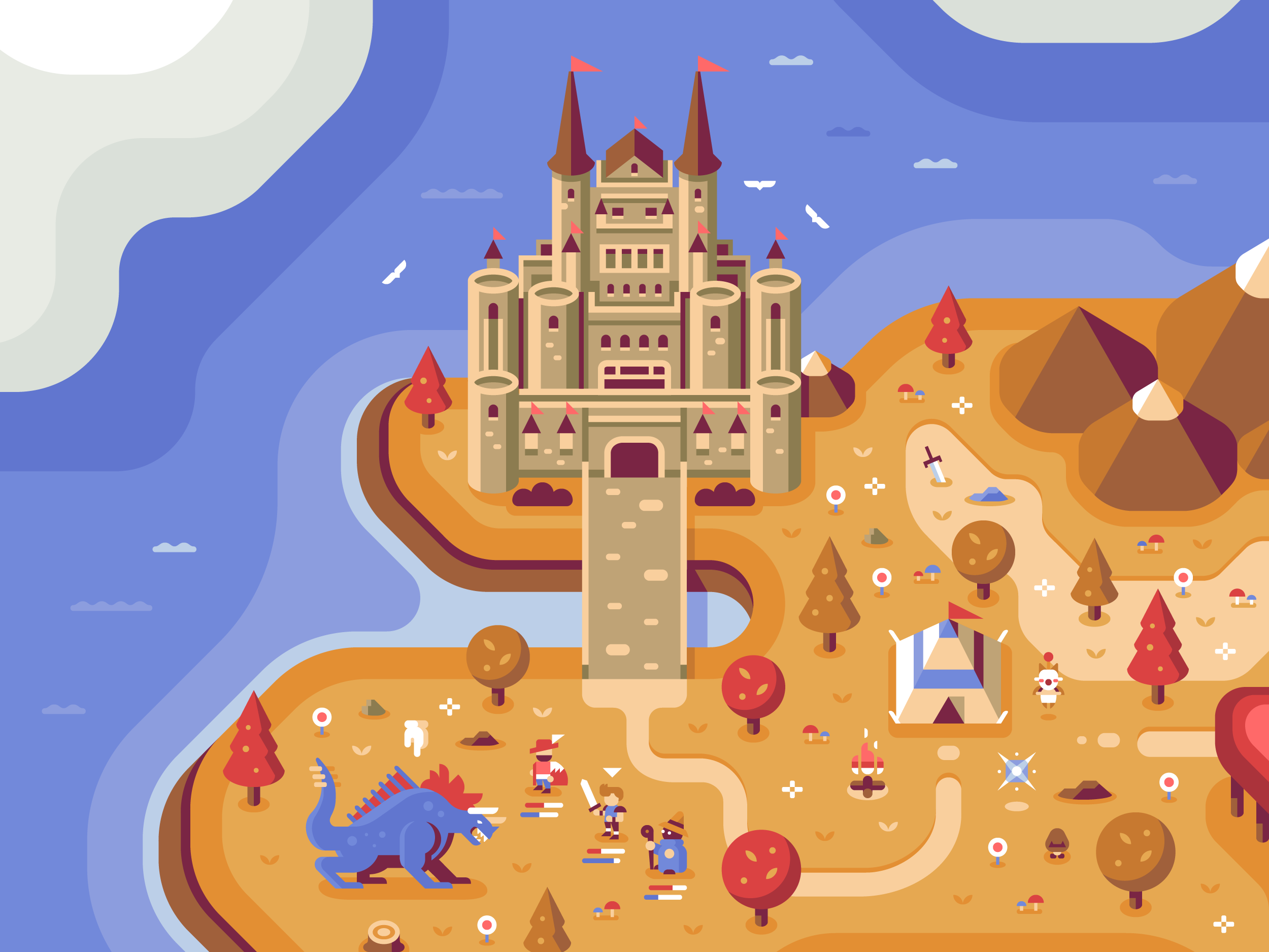 Final Fantasy Castle, Discord Office Mural illustrations by Matt Anderson and Canopy Design and Illustration
