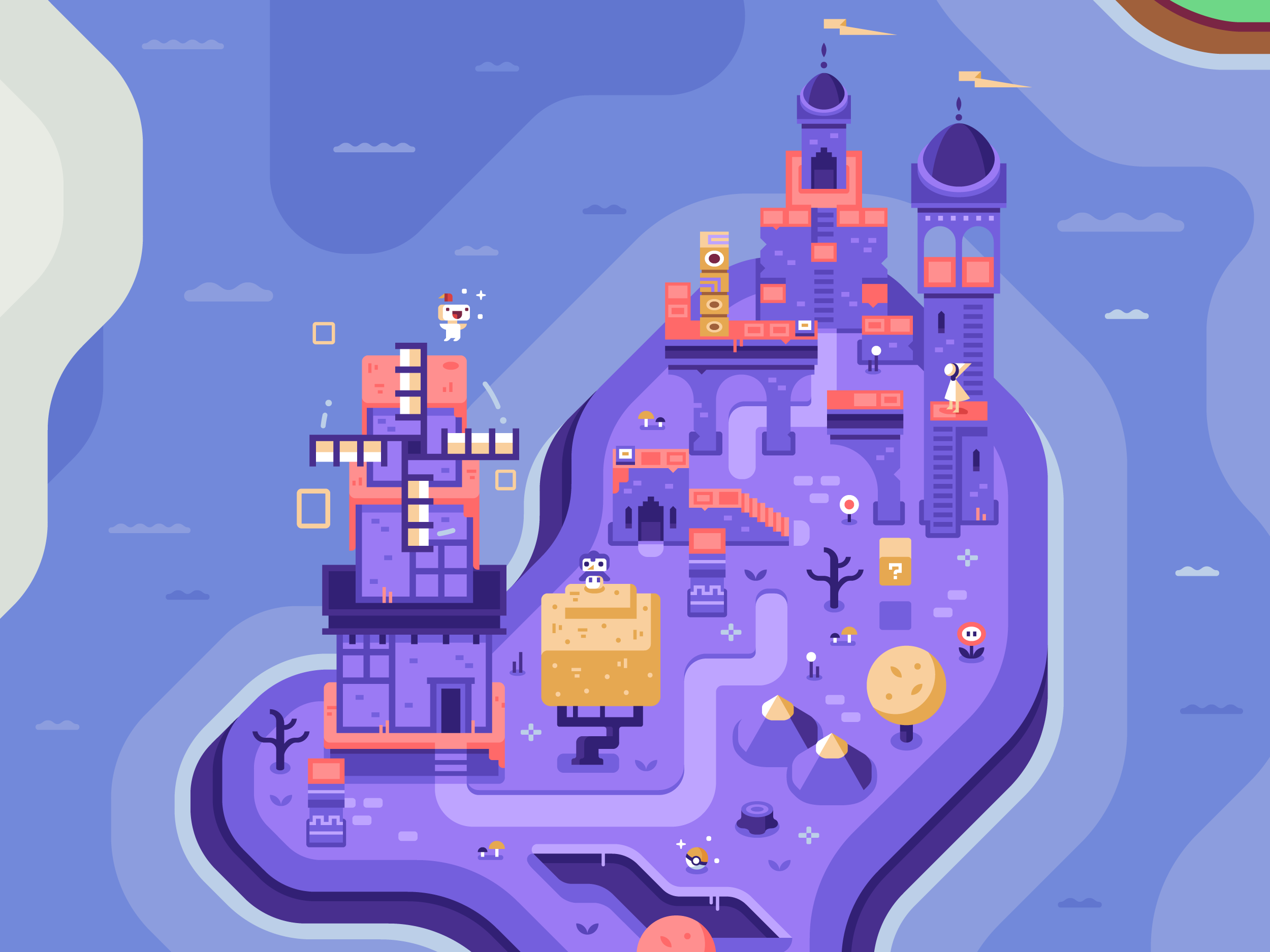 Monument Valley and Fez, Discord Office Mural illustrations by Matt Anderson and Canopy Design and Illustration